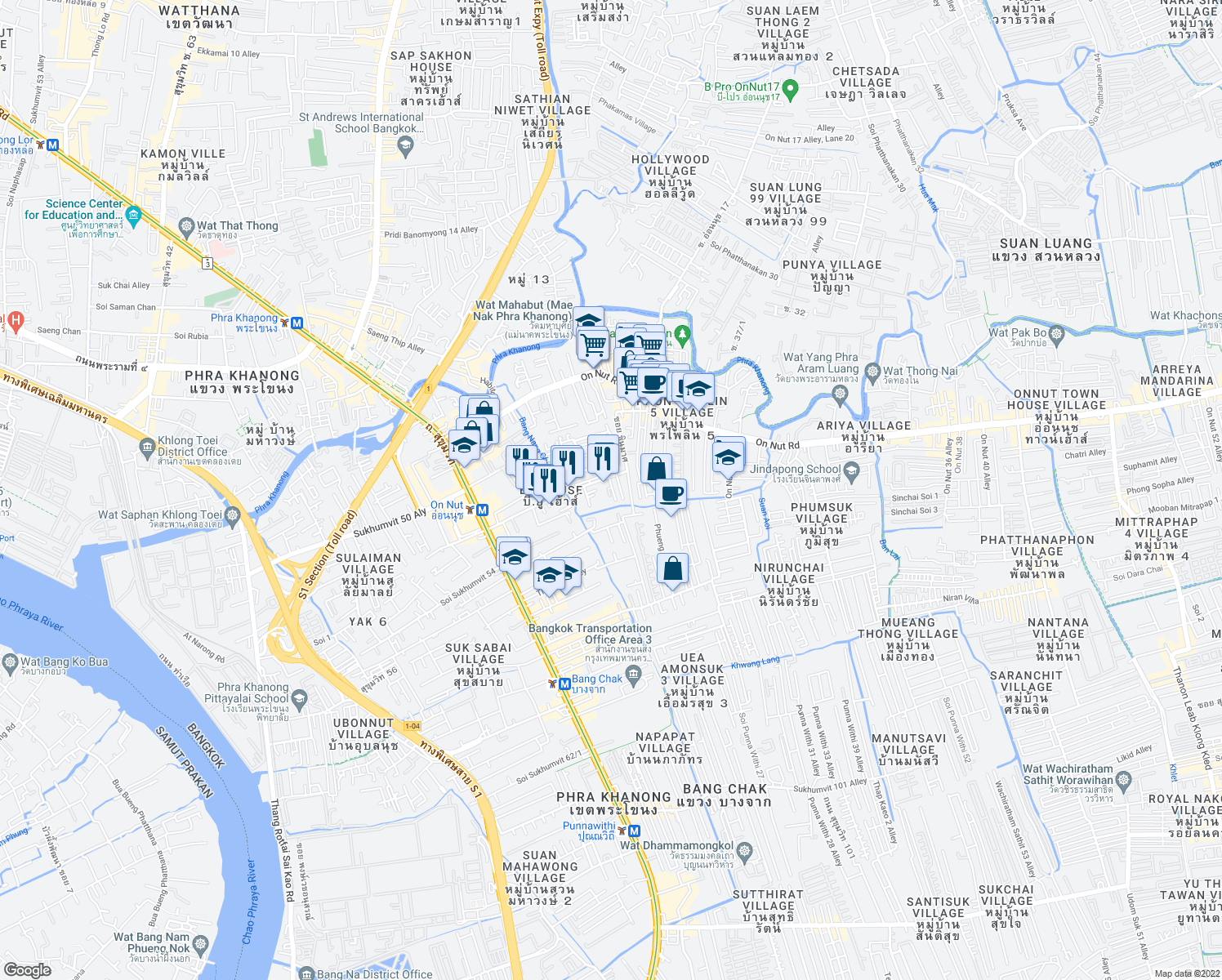 map of restaurants, bars, coffee shops, grocery stores, and more near 288 สุขุมวิท 77 in Bangkok
