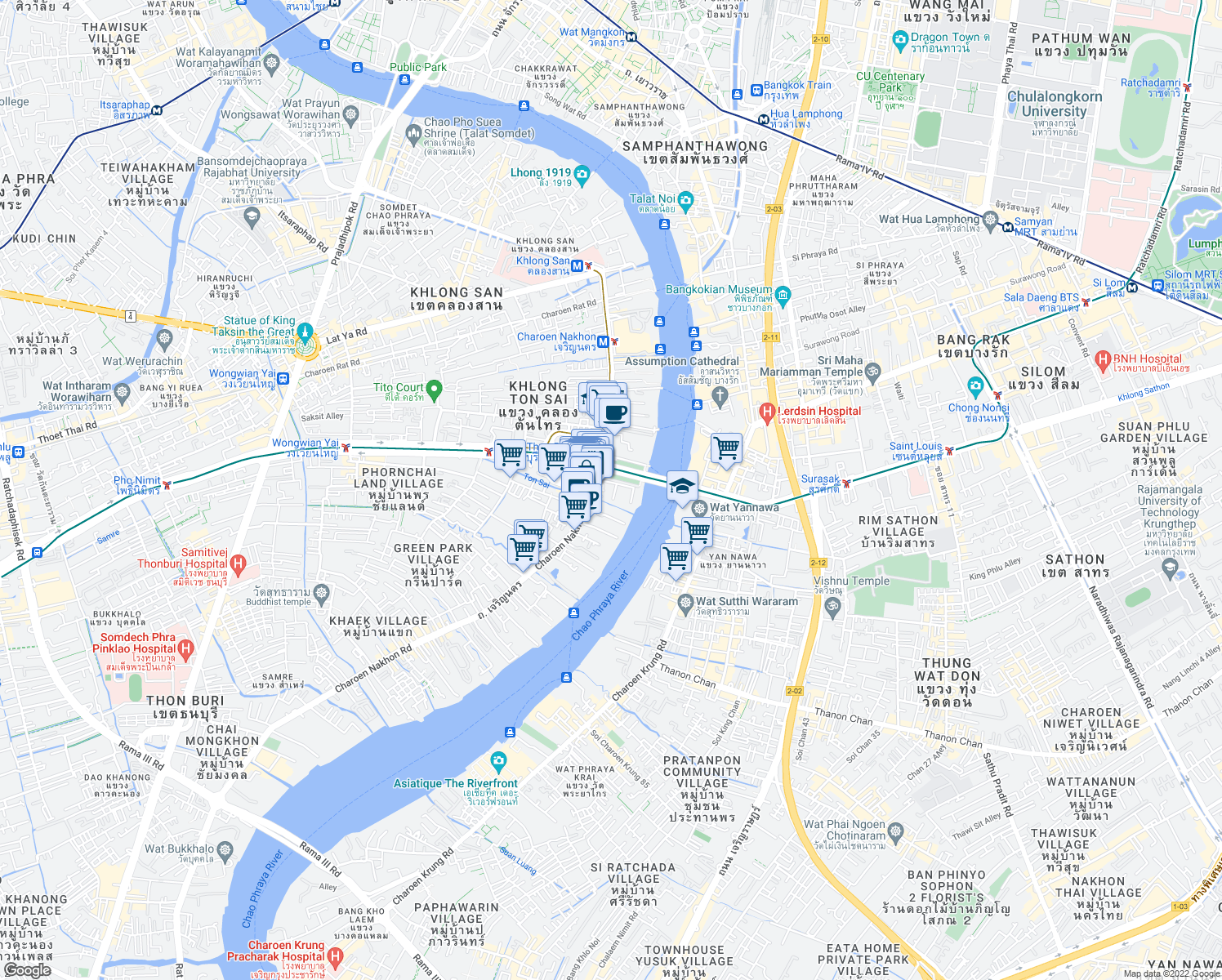 map of restaurants, bars, coffee shops, grocery stores, and more near 931 เจริญนคร in Bangkok