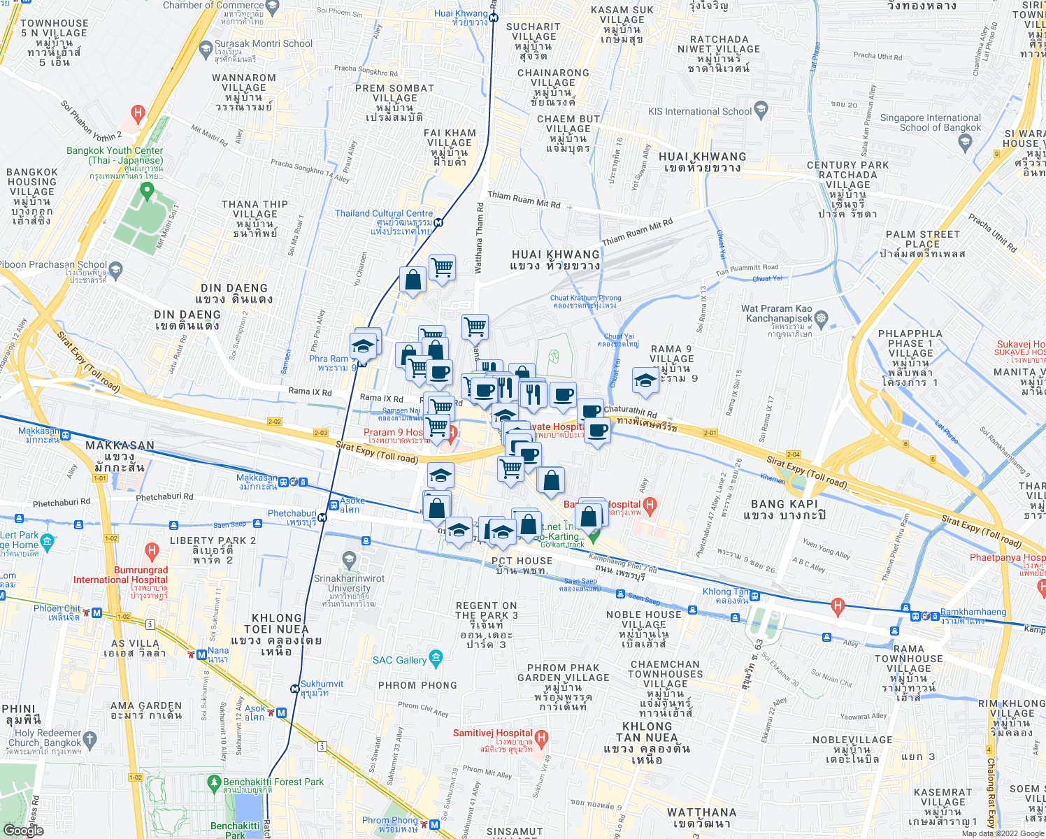 map of restaurants, bars, coffee shops, grocery stores, and more near 264 Thanon Phra Ram 9 in Bangkok