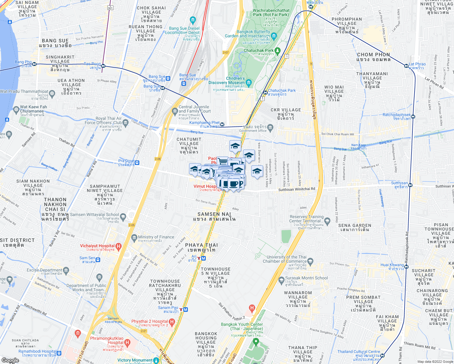 map of restaurants, bars, coffee shops, grocery stores, and more near Soi in Bangkok