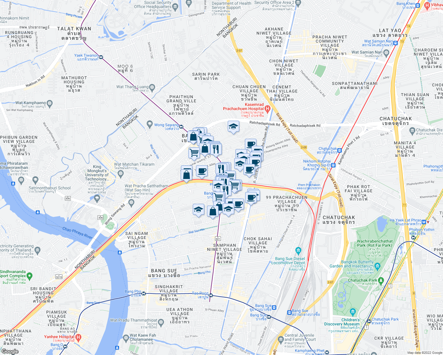 map of restaurants, bars, coffee shops, grocery stores, and more near Thanon Krungthep-Nonthaburi in Bangkok