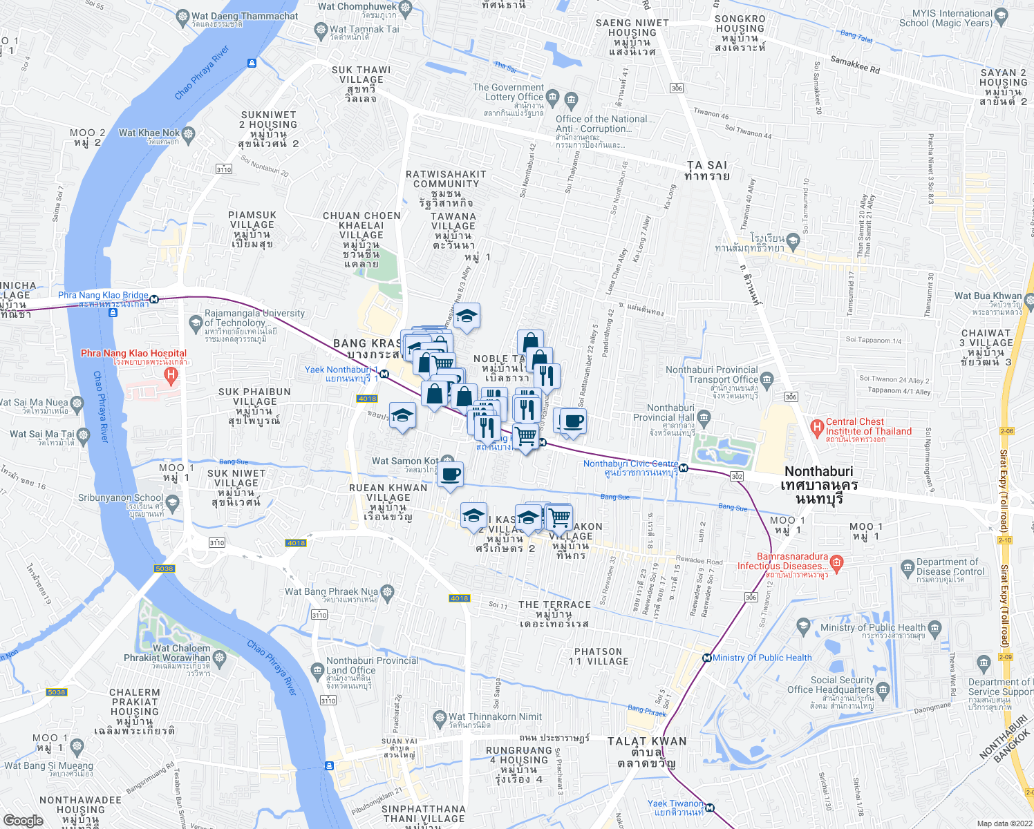 map of restaurants, bars, coffee shops, grocery stores, and more near 36/2 Thanon Rattanathibet in Nonthaburi
