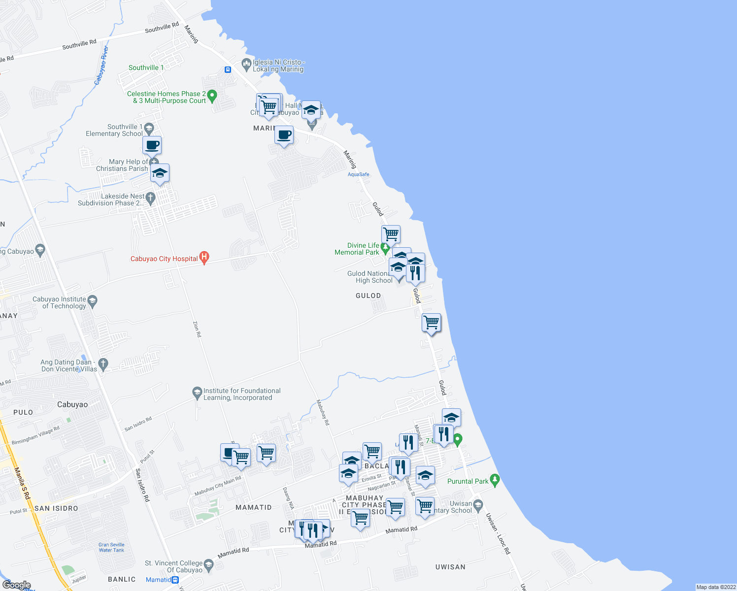 map of restaurants, bars, coffee shops, grocery stores, and more near Unnamed Road in Cabuyao City
