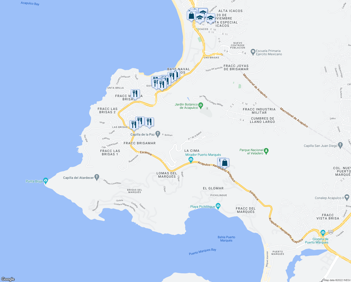 map of restaurants, bars, coffee shops, grocery stores, and more near 8 Calle 4 Vientos in Acapulco de Juárez