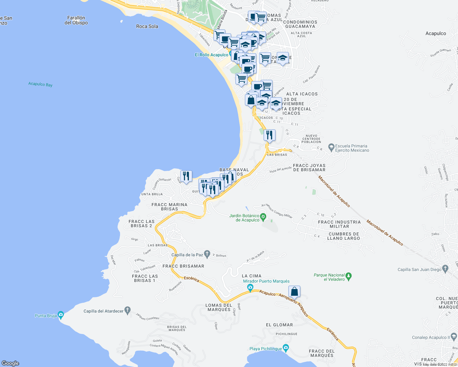 map of restaurants, bars, coffee shops, grocery stores, and more near 28 Escénica in Acapulco