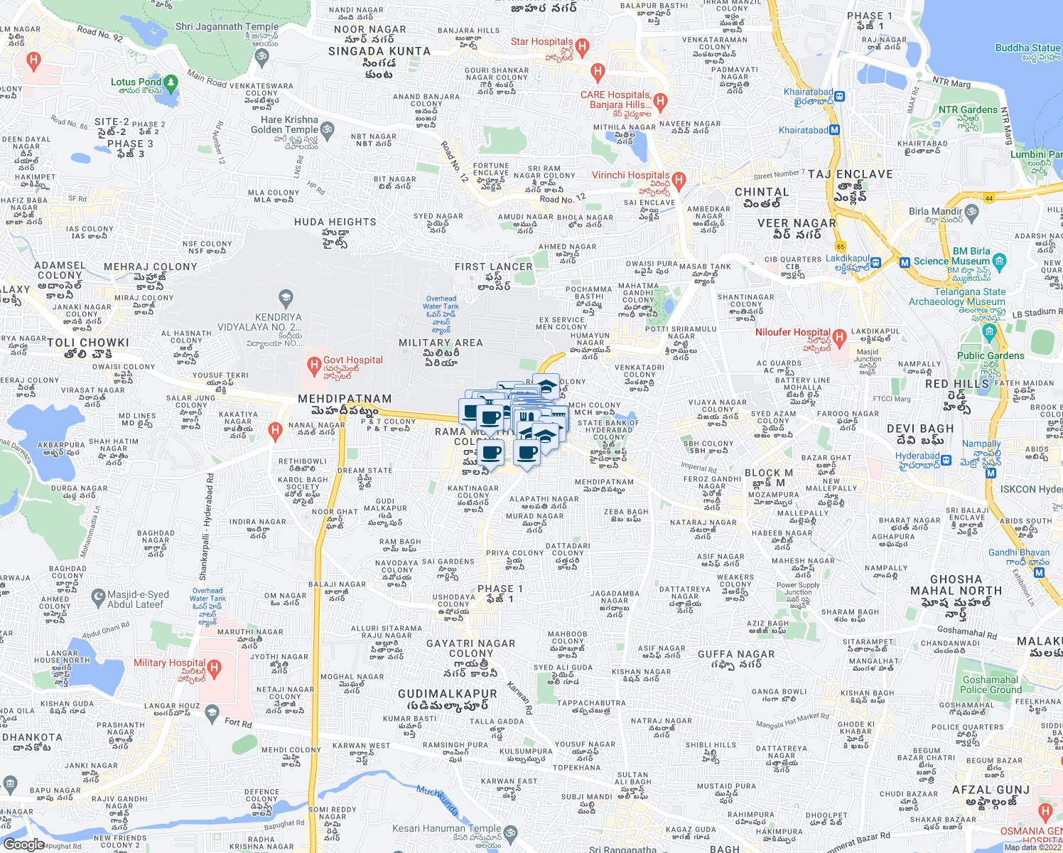 map of restaurants, bars, coffee shops, grocery stores, and more near Gudi Malkapur Road in Hyderabad
