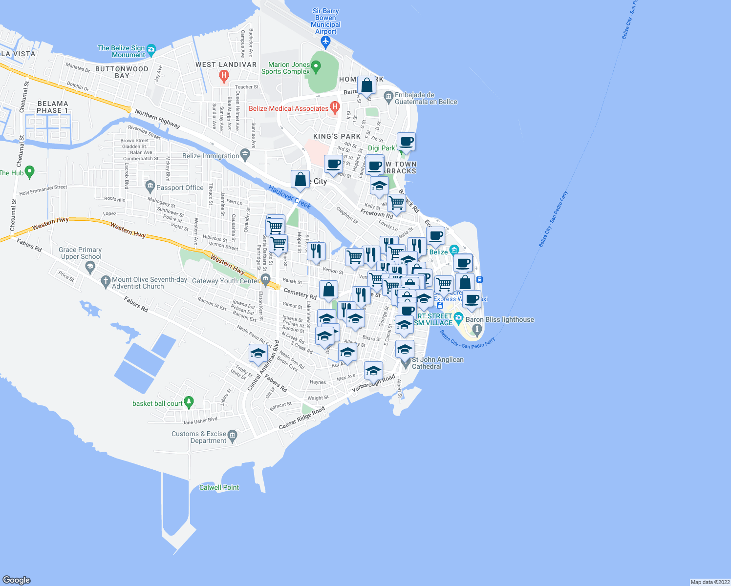 Orange st belize city belize walk score map of restaurants bars coffee shops grocery stores and more near orange gumiabroncs Image collections