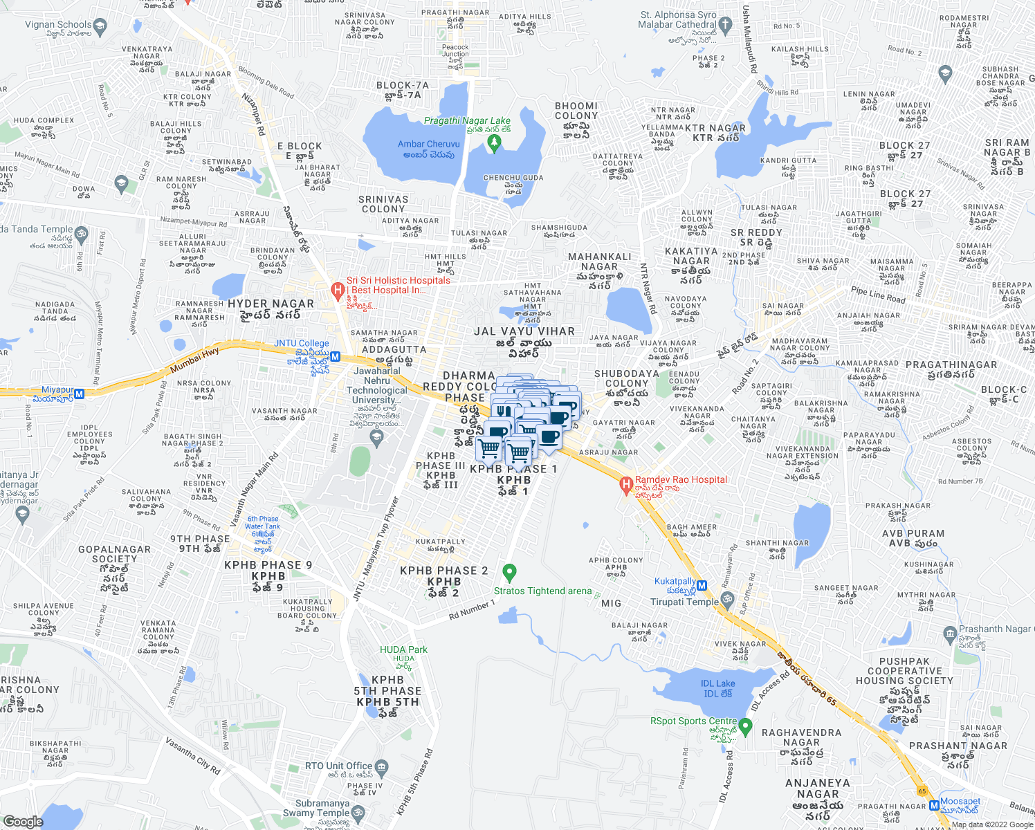 map of restaurants, bars, coffee shops, grocery stores, and more near in Hyderabad