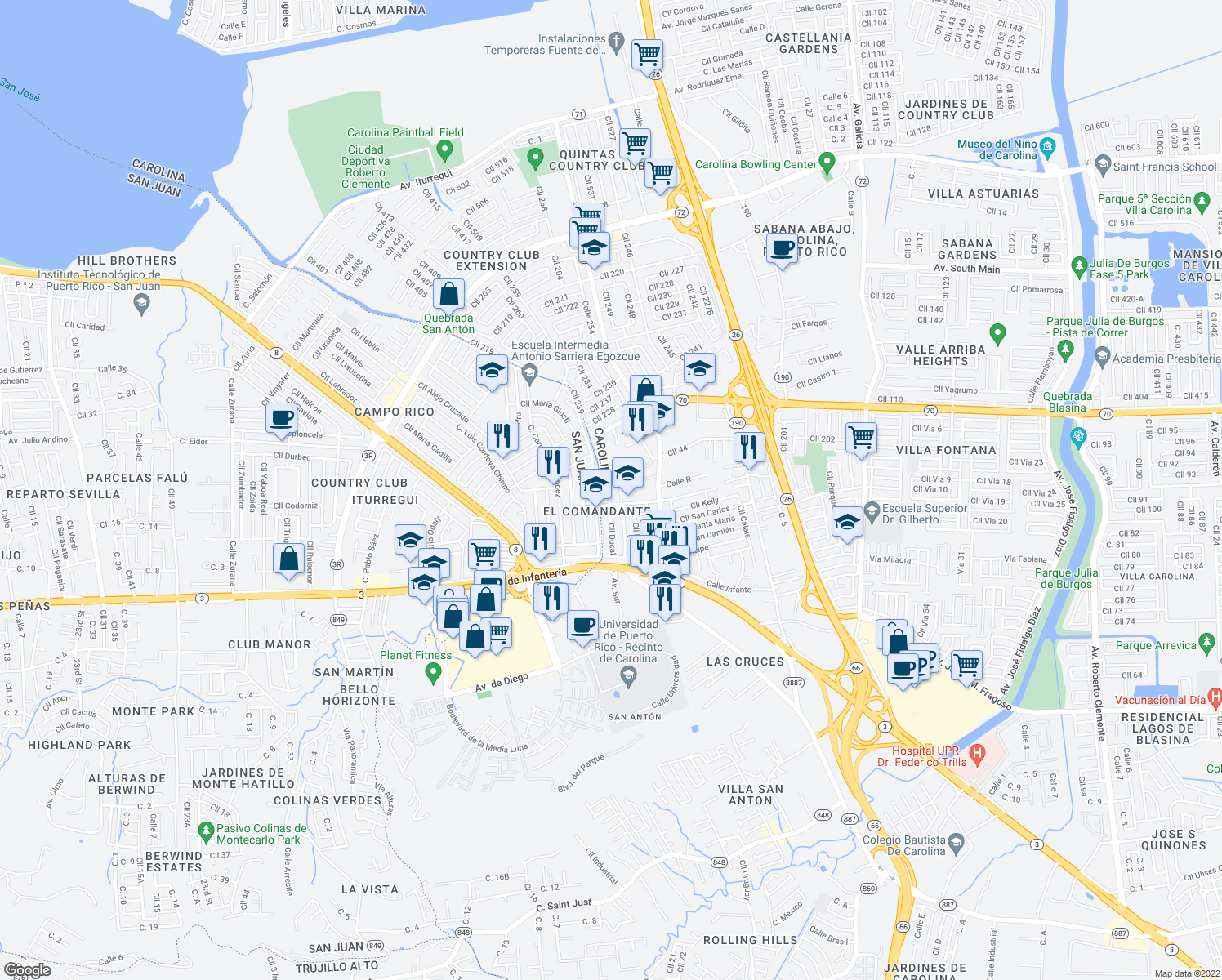 map of restaurants, bars, coffee shops, grocery stores, and more near in Carolina
