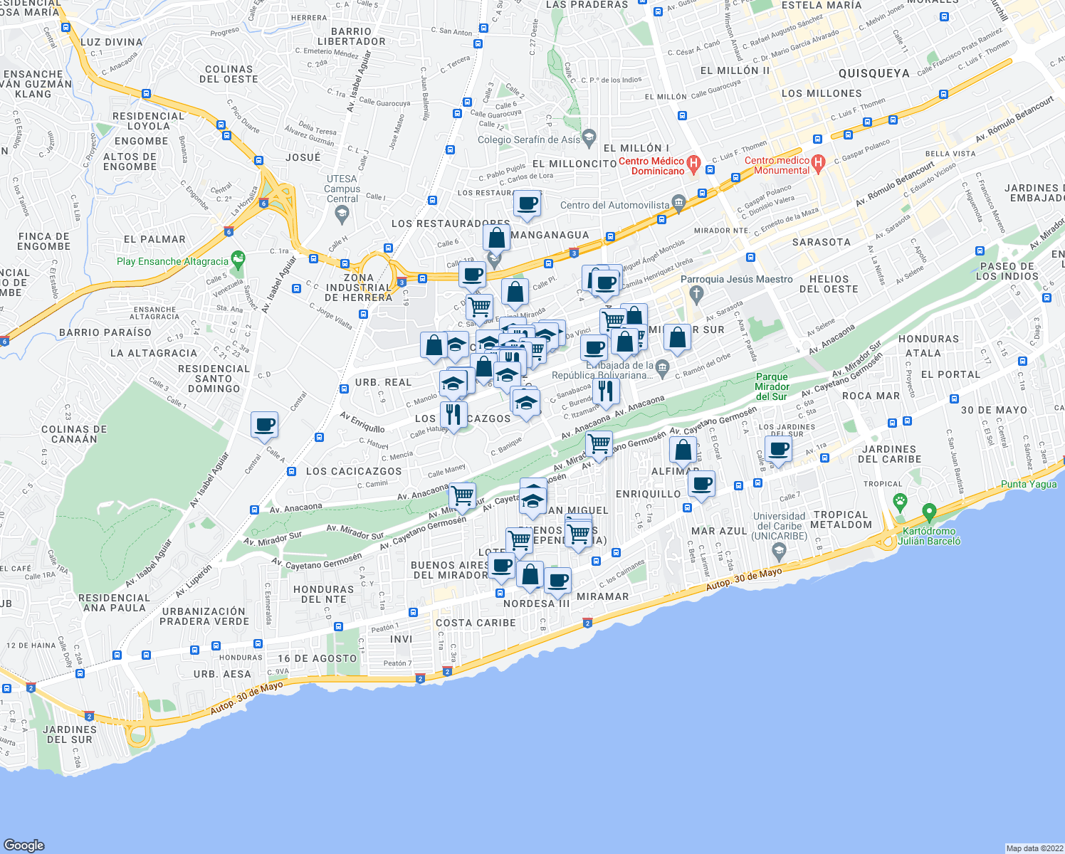 map of restaurants, bars, coffee shops, grocery stores, and more near Calle Onaney in Santo Domingo