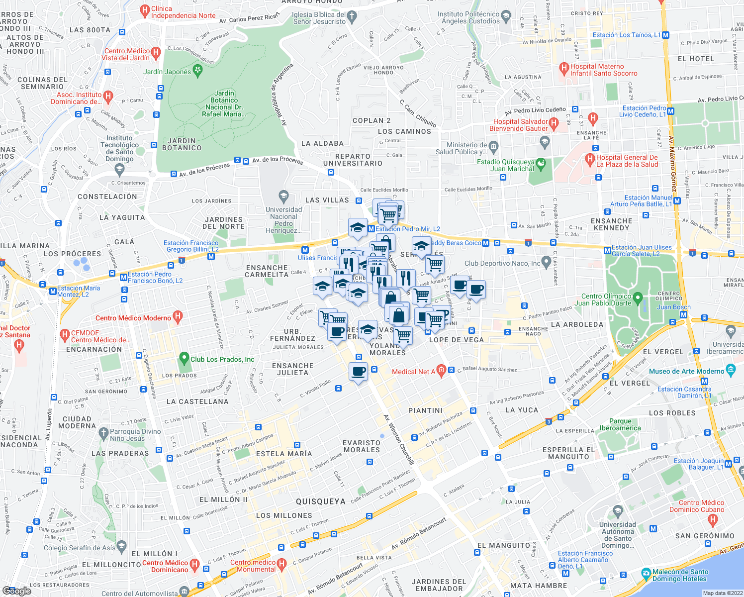 map of restaurants, bars, coffee shops, grocery stores, and more near 46 Calle José Amado Soler in Santo Domingo