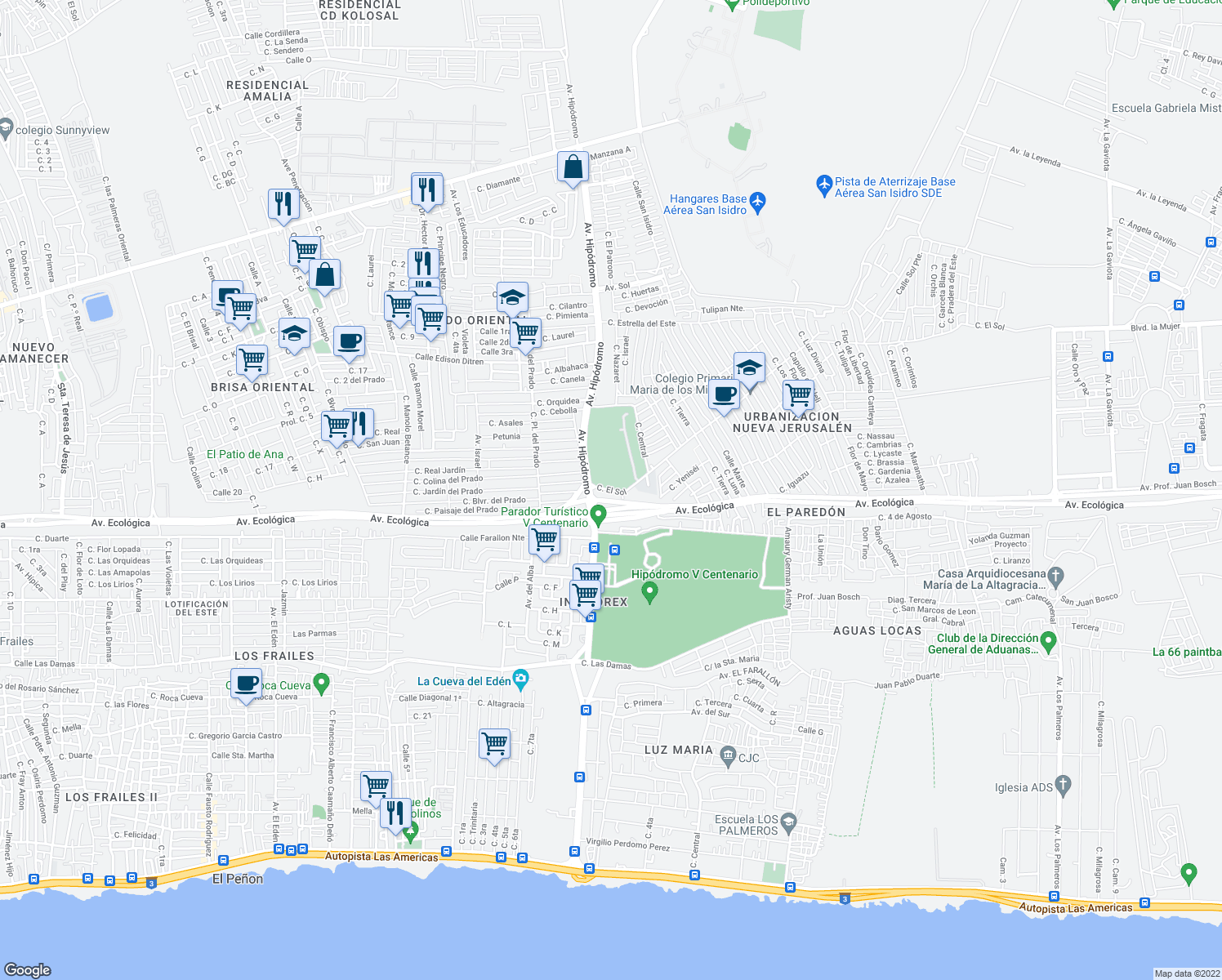 map of restaurants, bars, coffee shops, grocery stores, and more near Avenida Mirador del Este in Santo Domingo