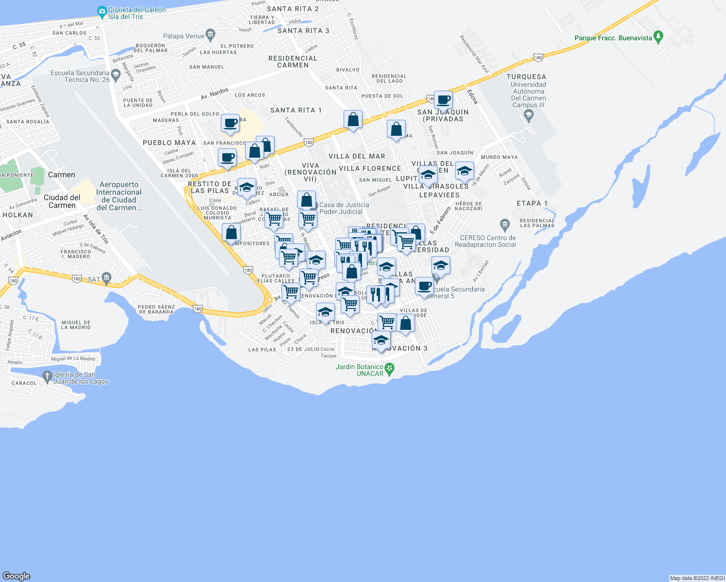 map of restaurants, bars, coffee shops, grocery stores, and more near in Ciudad del Carmen