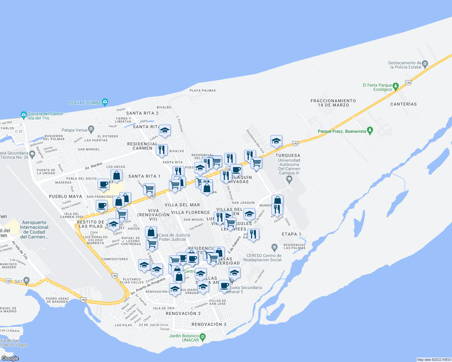 map of restaurants, bars, coffee shops, grocery stores, and more near 90-100 San Roman in Ciudad del Carmen