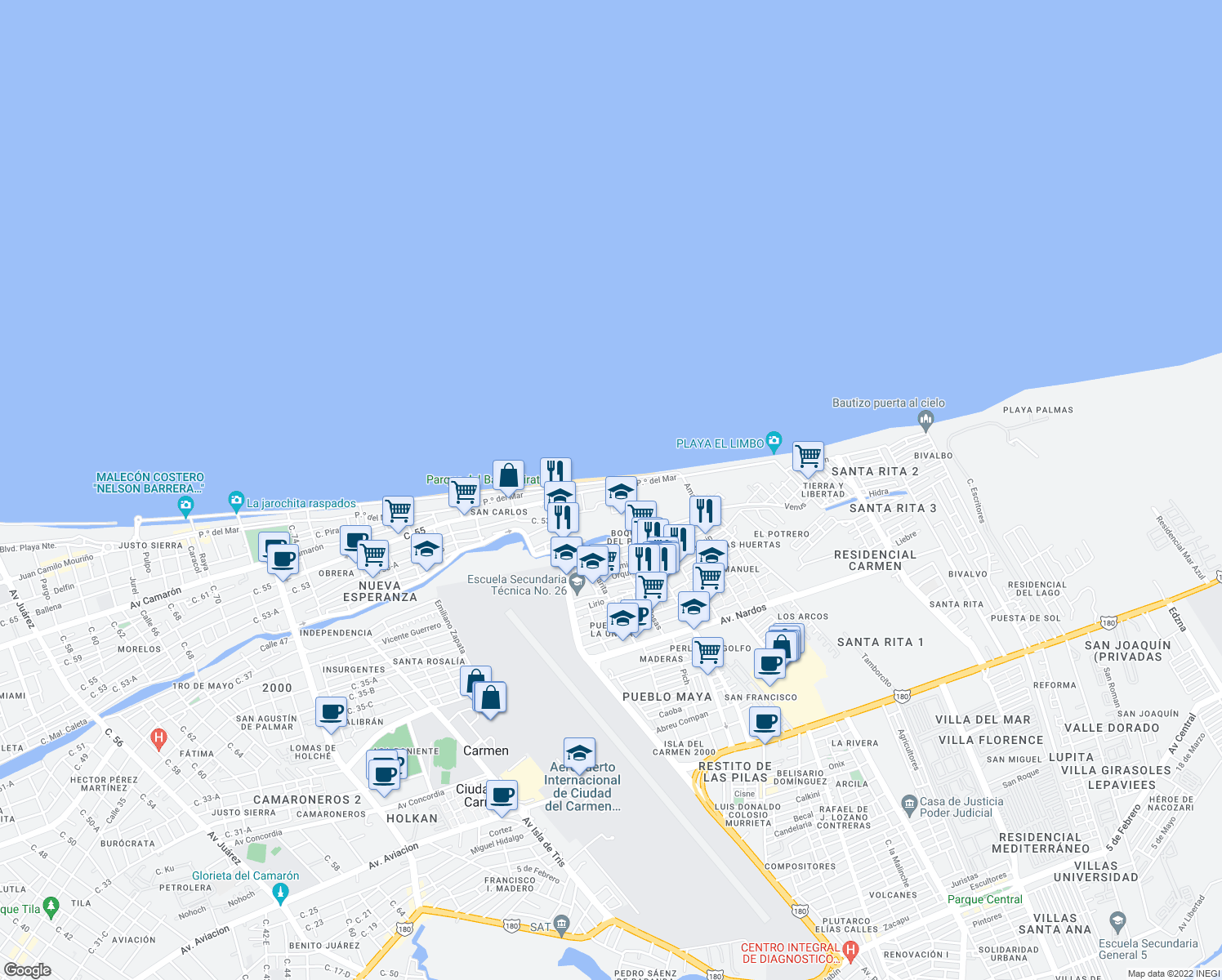 map of restaurants, bars, coffee shops, grocery stores, and more near 8 Paseo del Mar in Ciudad del Carmen