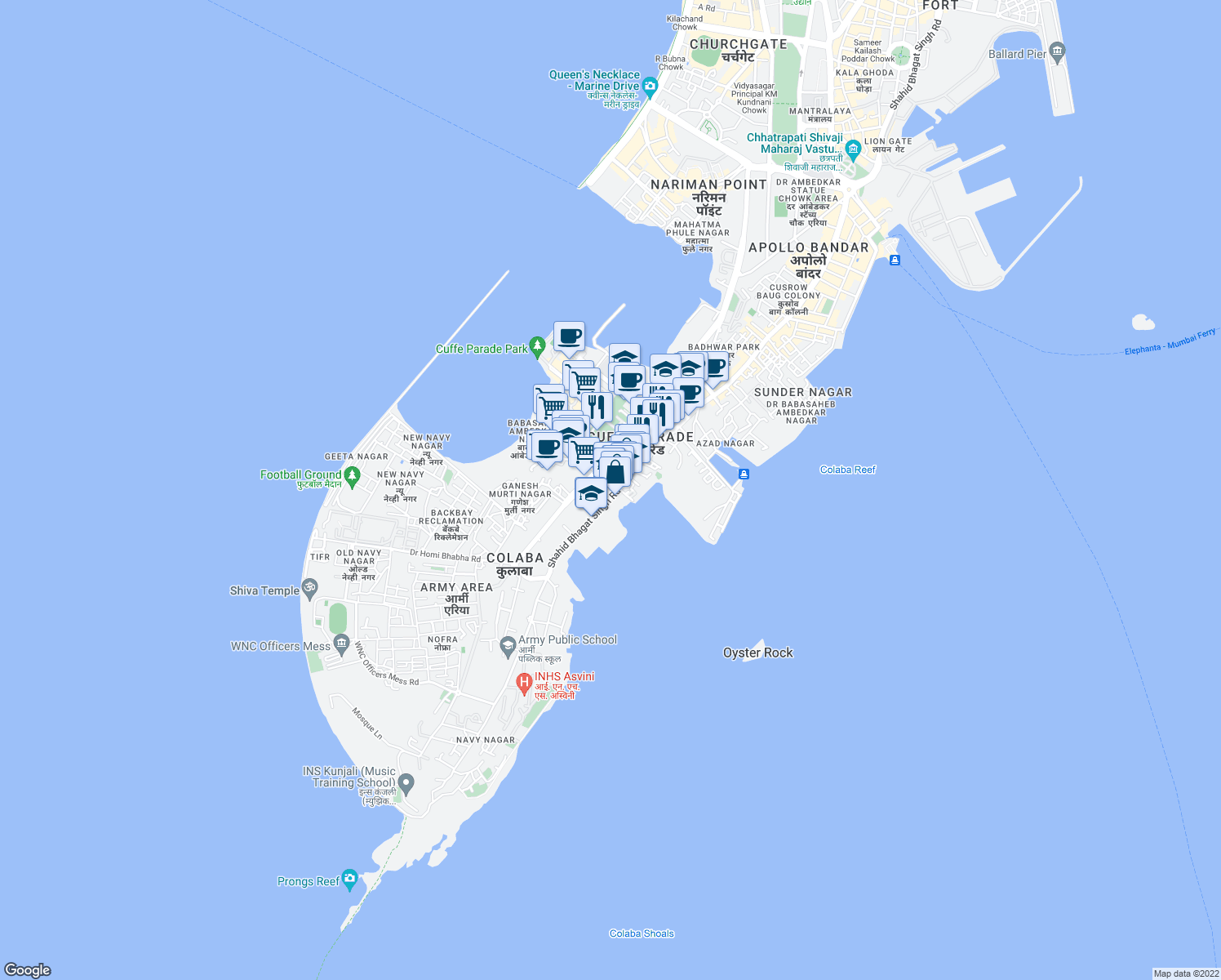 map of restaurants, bars, coffee shops, grocery stores, and more near in Mumbai