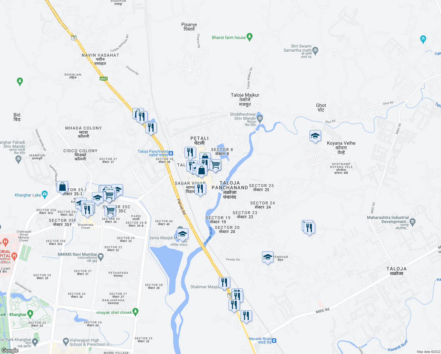 map of restaurants, bars, coffee shops, grocery stores, and more near in Navi Mumbai