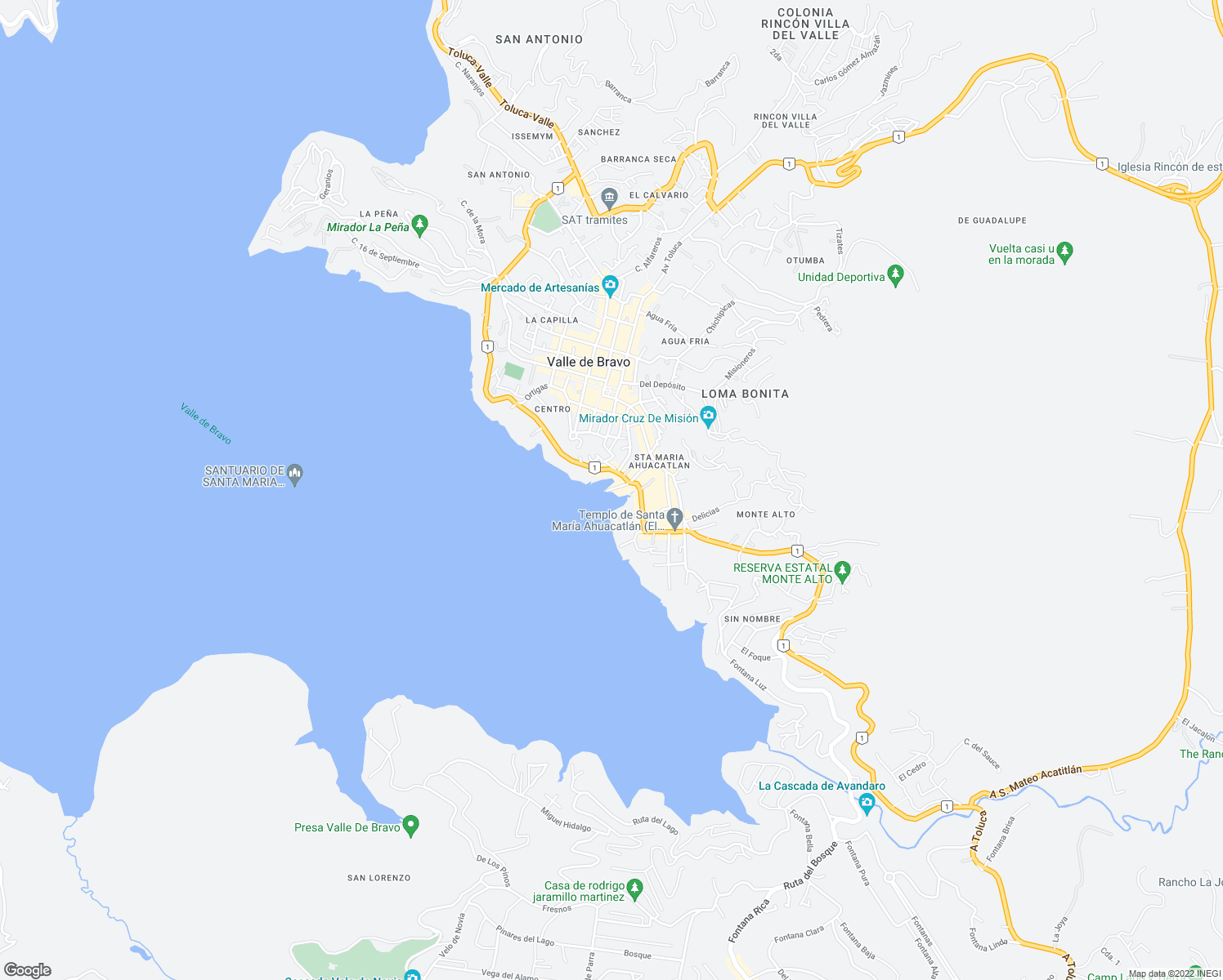 map of restaurants, bars, coffee shops, grocery stores, and more near 115 De Manuel in Valle de Bravo