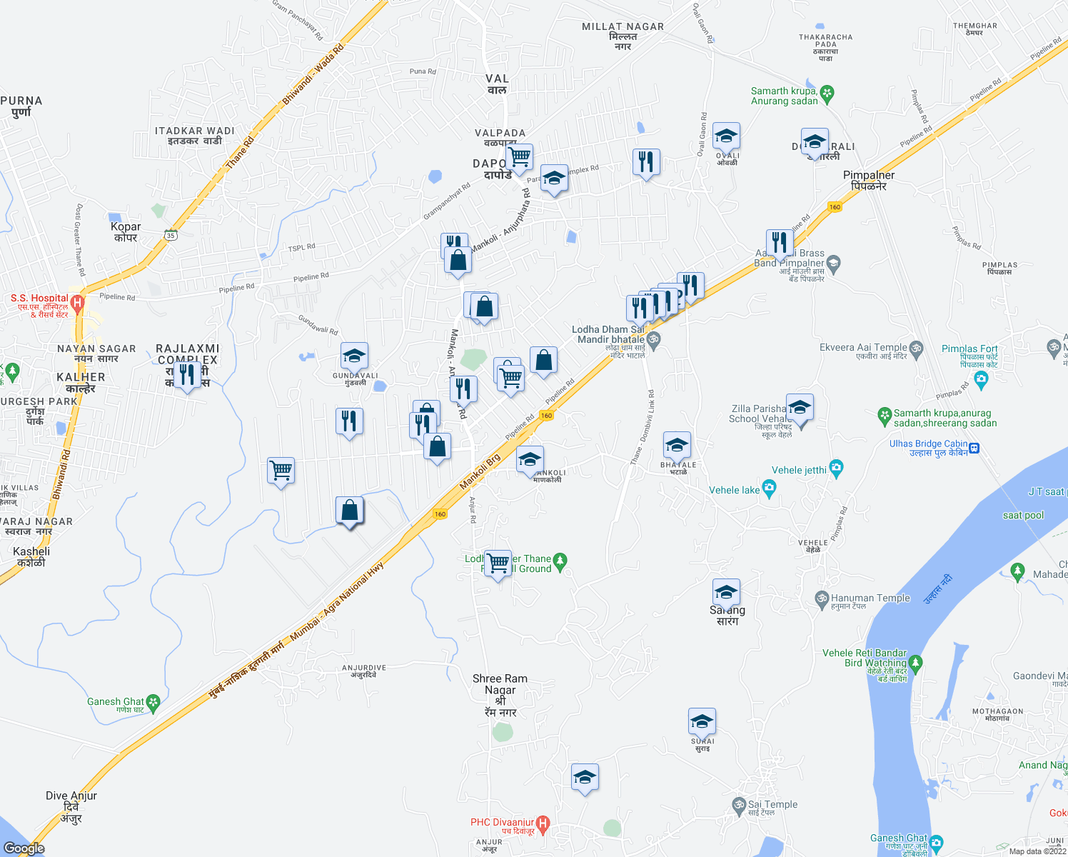 map of restaurants, bars, coffee shops, grocery stores, and more near Mumbai - Nashik Expressway in Bhiwandi