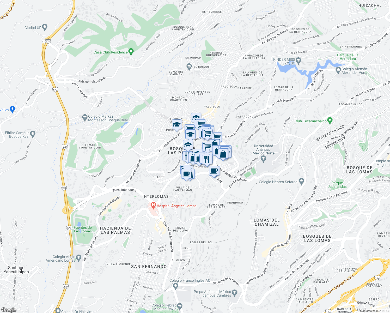 map of restaurants, bars, coffee shops, grocery stores, and more near in Huixquilucan