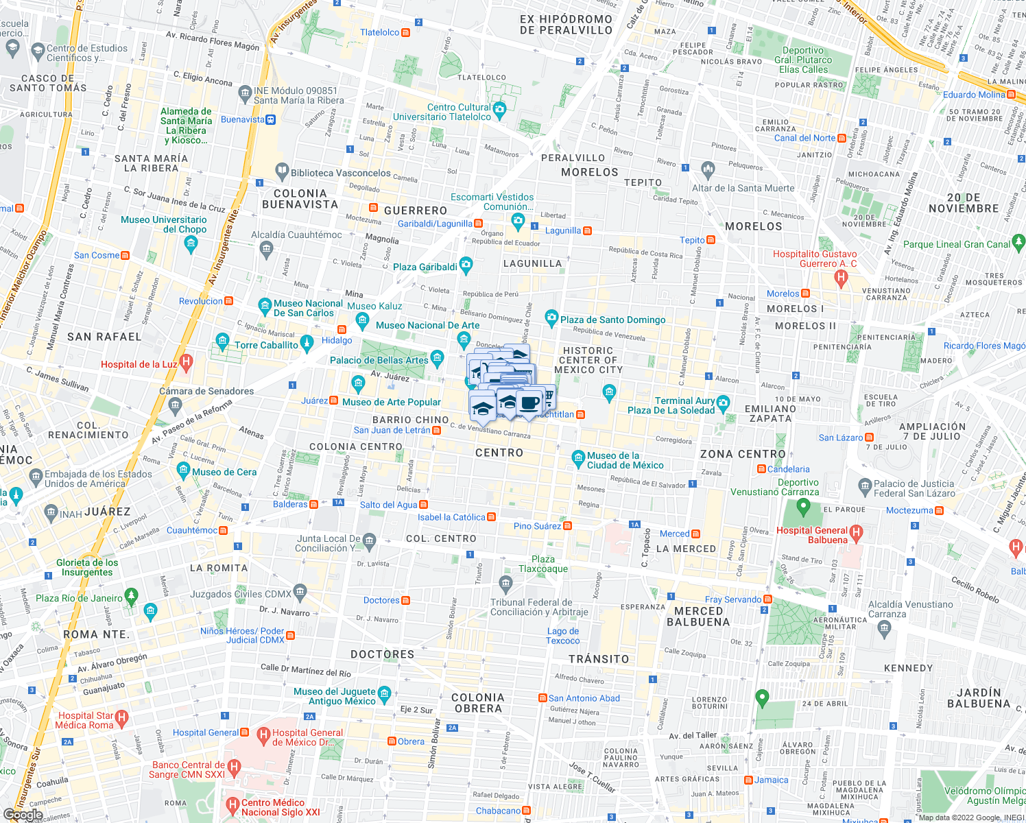 map of restaurants, bars, coffee shops, grocery stores, and more near 35 Isabel la Católica in Mexico City