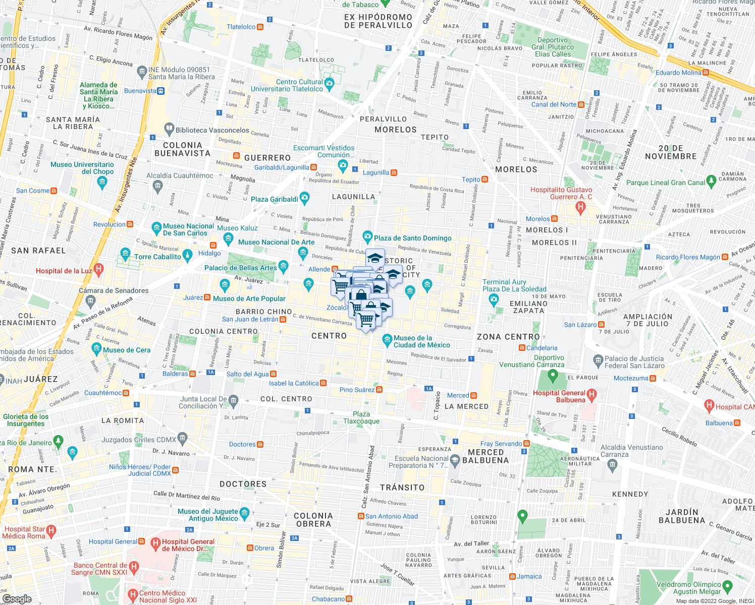map of restaurants, bars, coffee shops, grocery stores, and more near in Mexico City