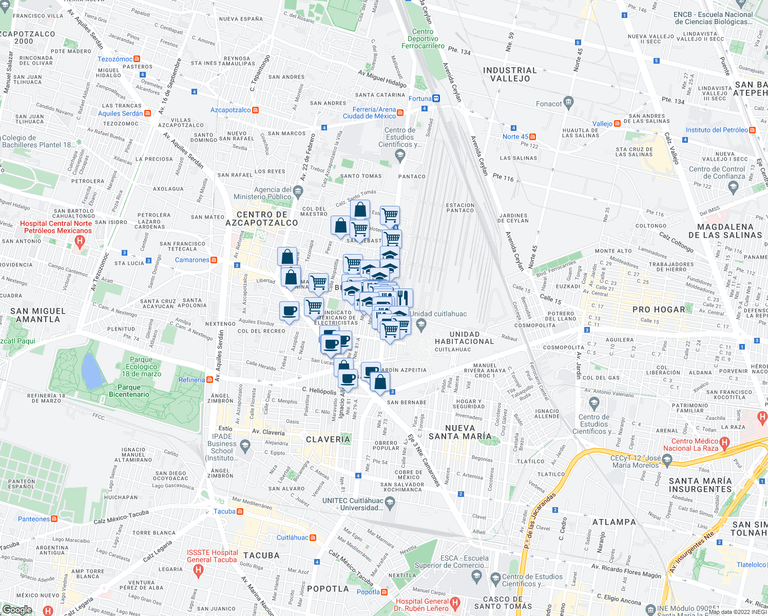 map of restaurants, bars, coffee shops, grocery stores, and more near 236 Avenida de las Granjas in Mexico City