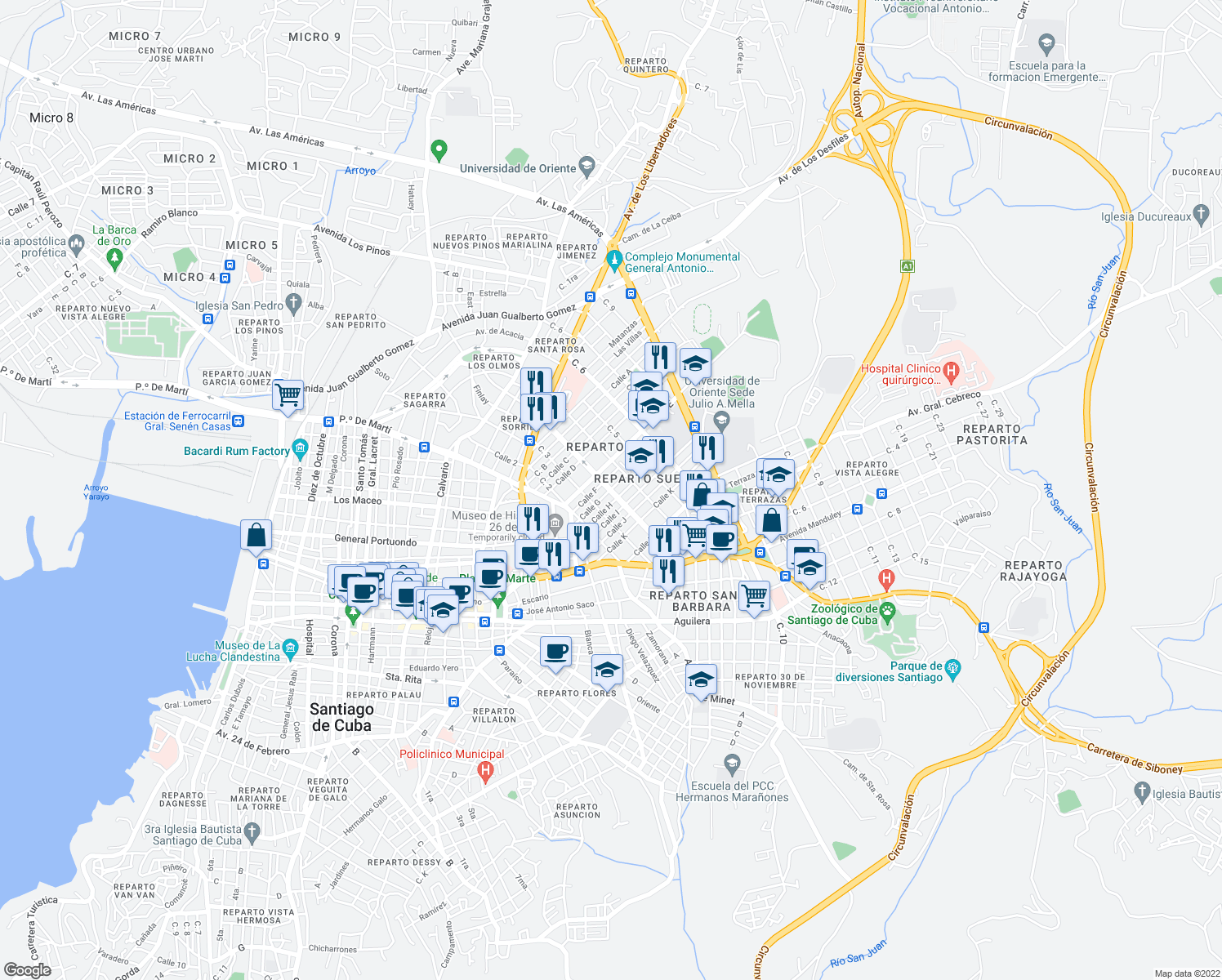 map of restaurants, bars, coffee shops, grocery stores, and more near Avenida de Céspedes in Santiago de Cuba