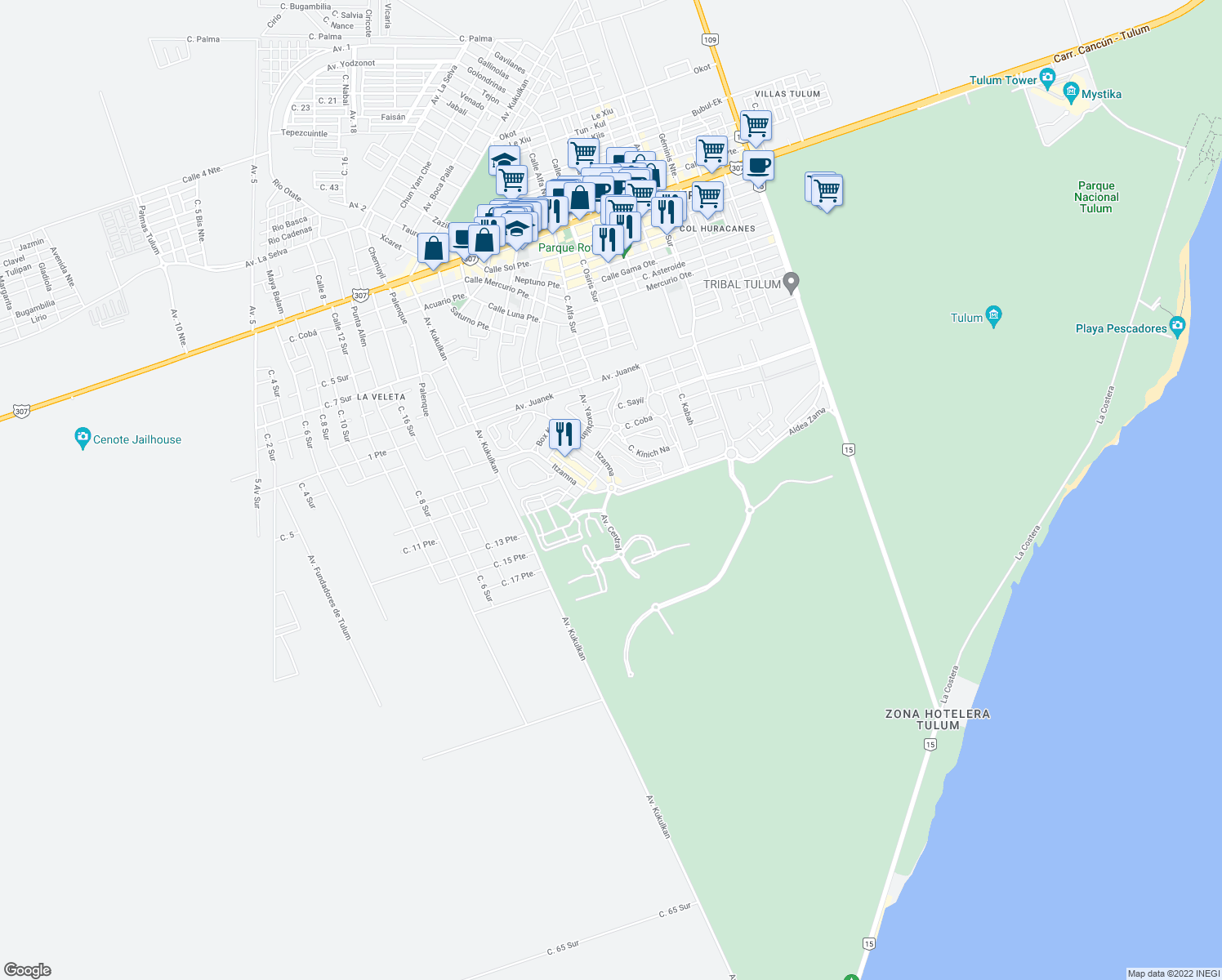 map of restaurants, bars, coffee shops, grocery stores, and more near Mza. 12 Lote 110 Aldea Zama in Tulum