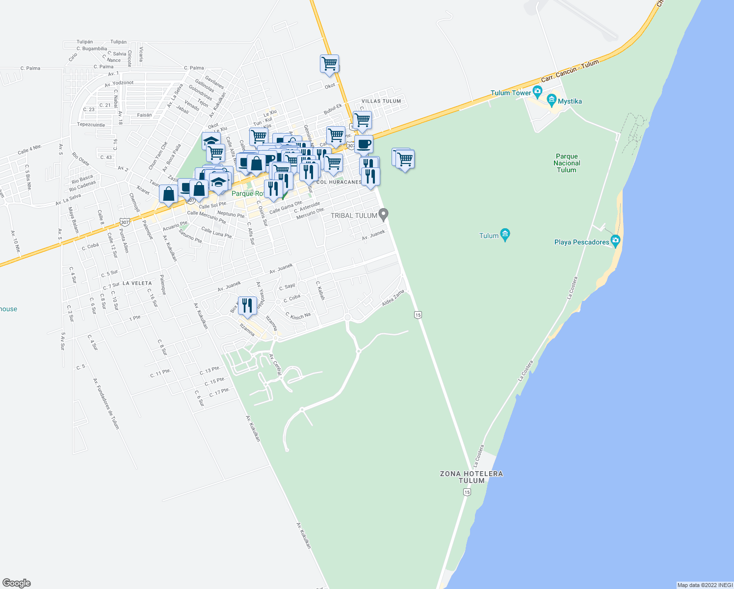 map of restaurants, bars, coffee shops, grocery stores, and more near Aldea Zama in Tulum