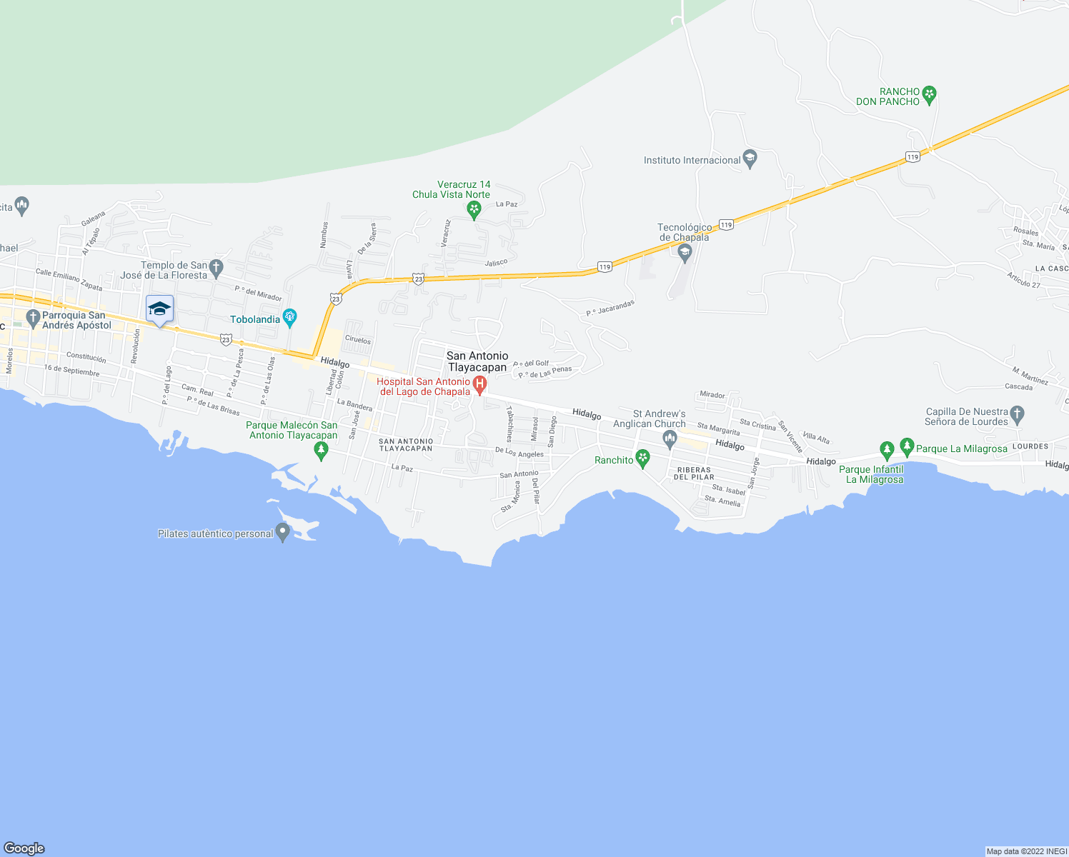 map of restaurants, bars, coffee shops, grocery stores, and more near 27 Mirasol in Ajijic