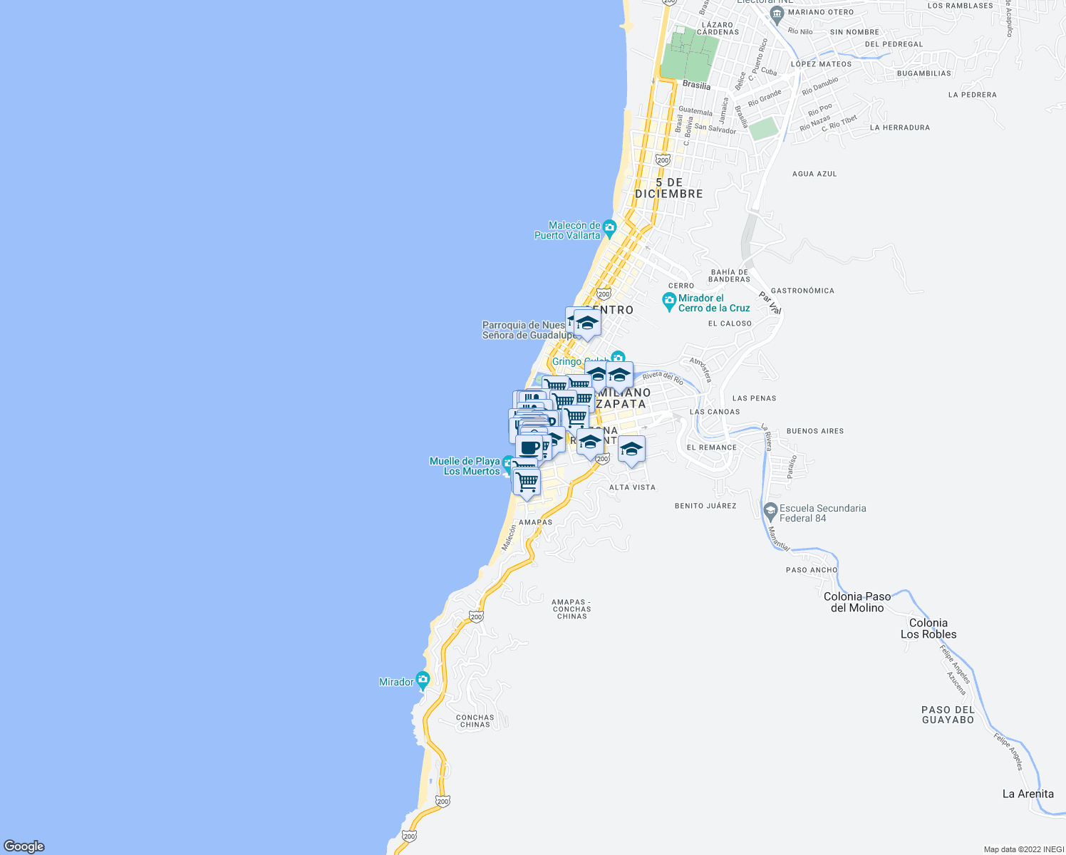 map of restaurants, bars, coffee shops, grocery stores, and more near 155 Lázaro Cárdenas in Puerto Vallarta