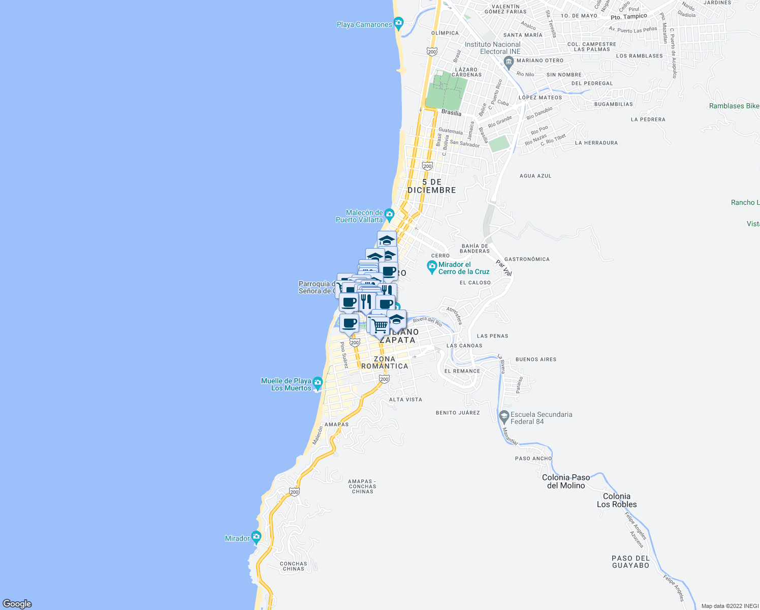 map of restaurants, bars, coffee shops, grocery stores, and more near 273 Calle Emilio Carranza in Puerto Vallarta