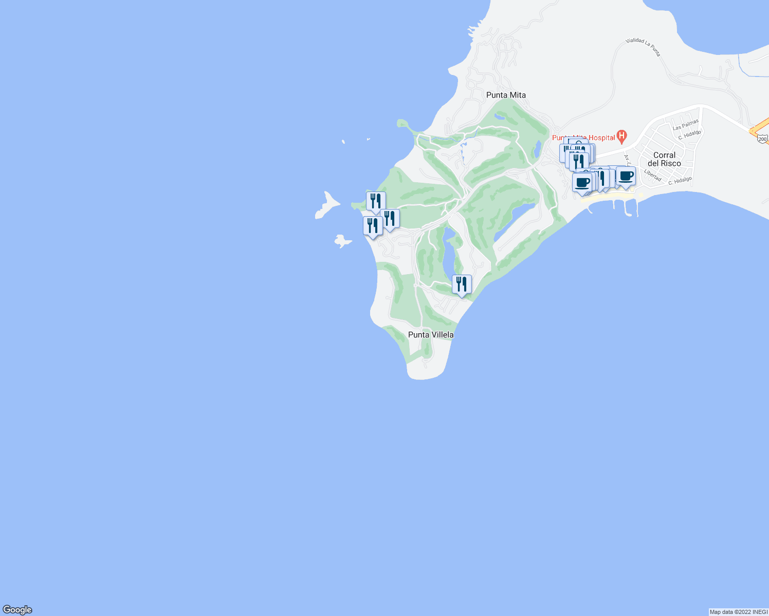 map of restaurants, bars, coffee shops, grocery stores, and more near Unnamed Road in Bahía de Banderas