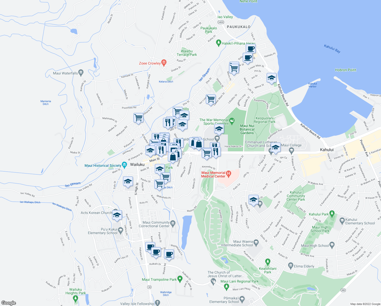 map of restaurants, bars, coffee shops, grocery stores, and more near 1782 West Kaahumanu Avenue in Wailuku