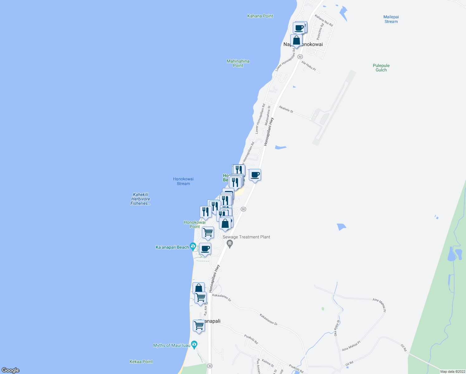 map of restaurants, bars, coffee shops, grocery stores, and more near 3615 Lower Honoapiilani Road in Lahaina