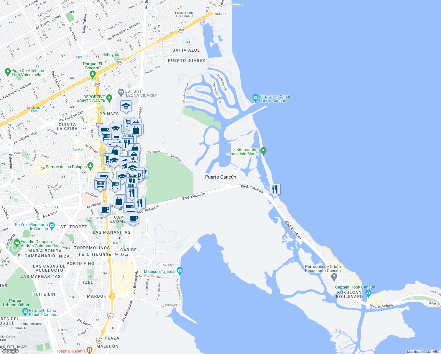 map of restaurants, bars, coffee shops, grocery stores, and more near in Cancún