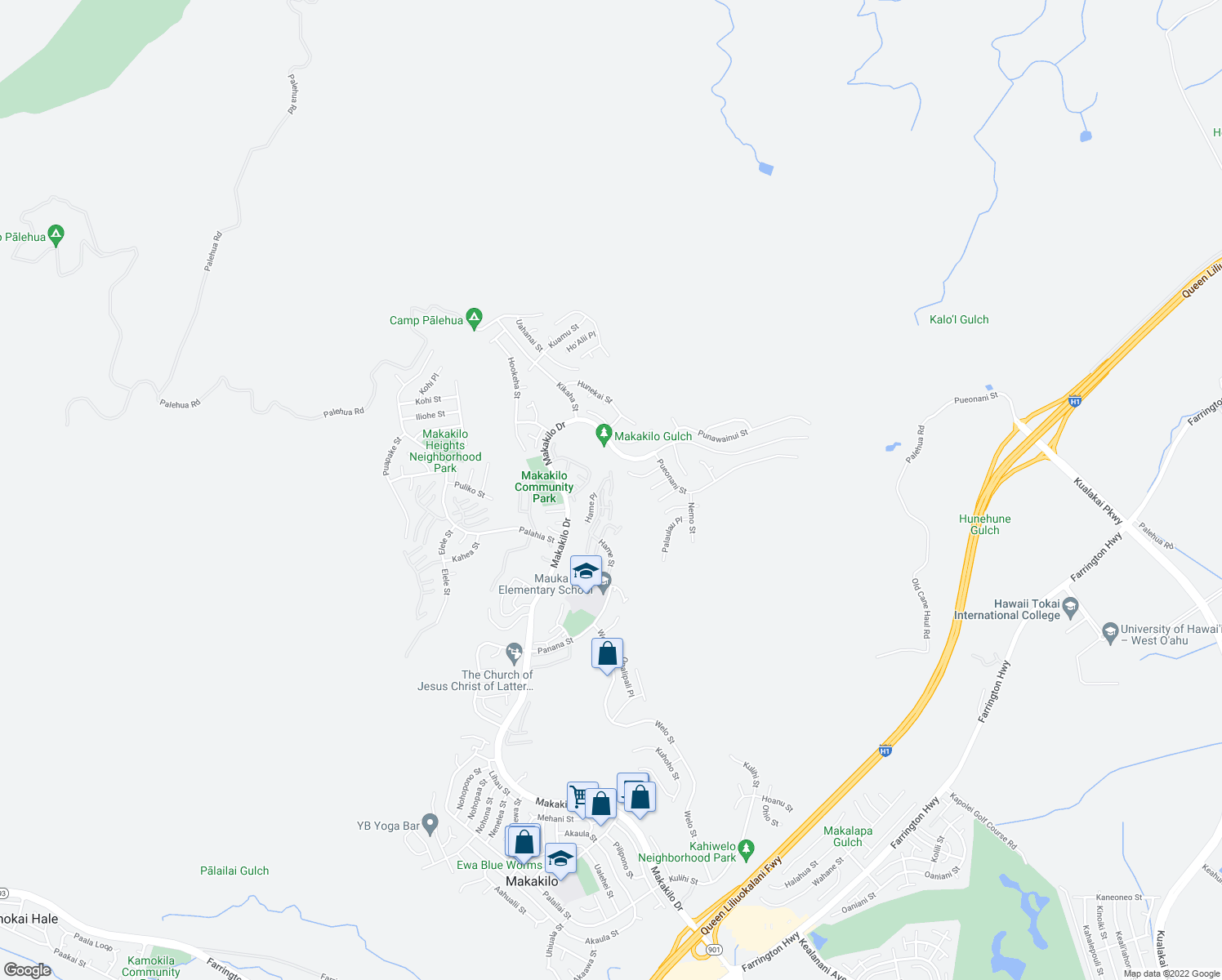 map of restaurants, bars, coffee shops, grocery stores, and more near 92 Hame Street in Kapolei