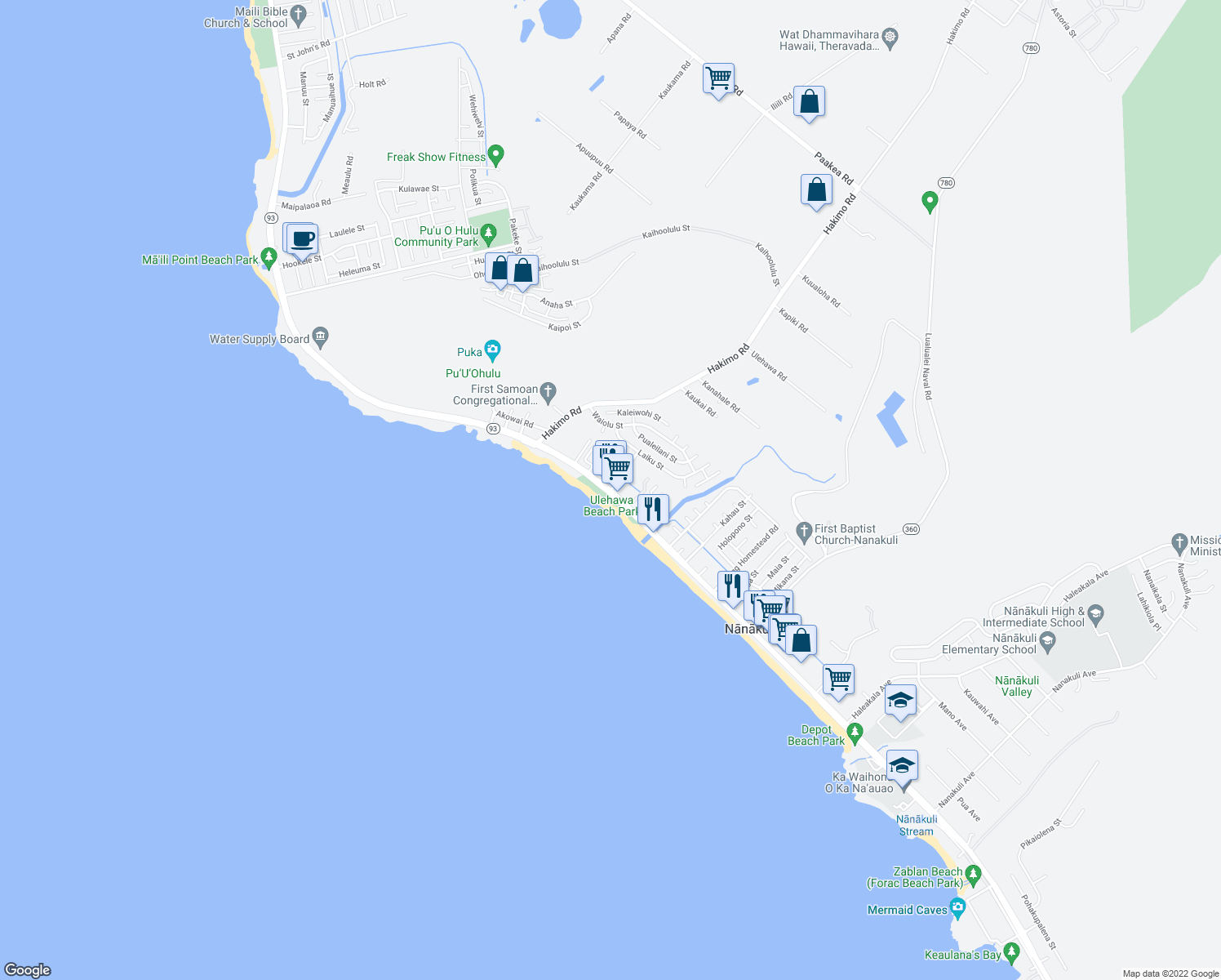map of restaurants, bars, coffee shops, grocery stores, and more near 87-1650 Farrington Highway in Waianae
