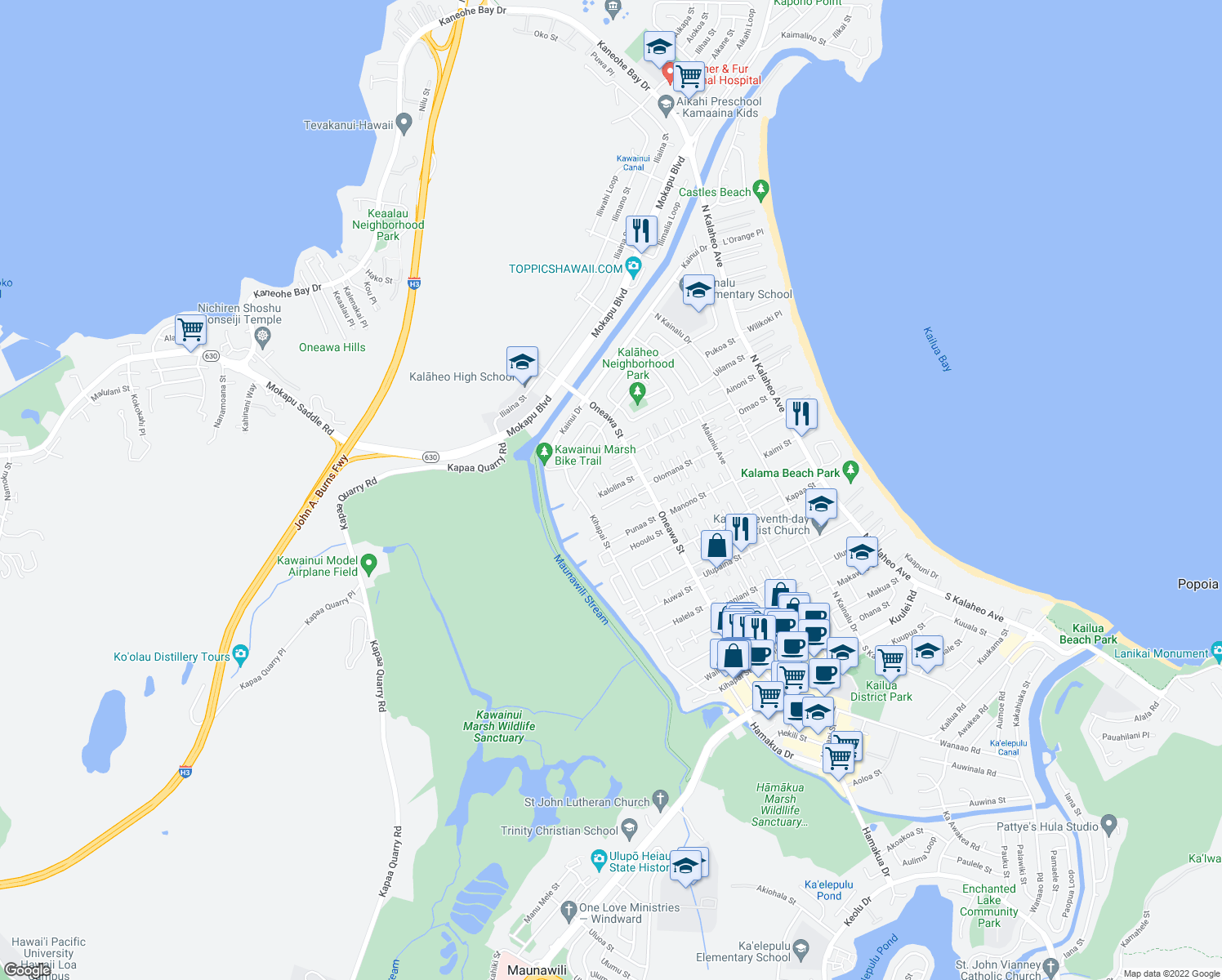 map of restaurants, bars, coffee shops, grocery stores, and more near Kalolina Street in Kailua