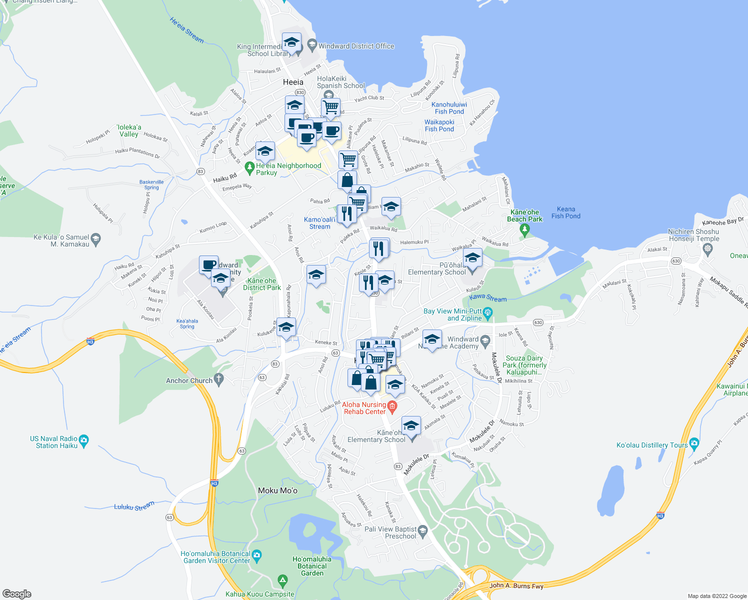 map of restaurants, bars, coffee shops, grocery stores, and more near 45-554 Kiani Street in Kaneohe