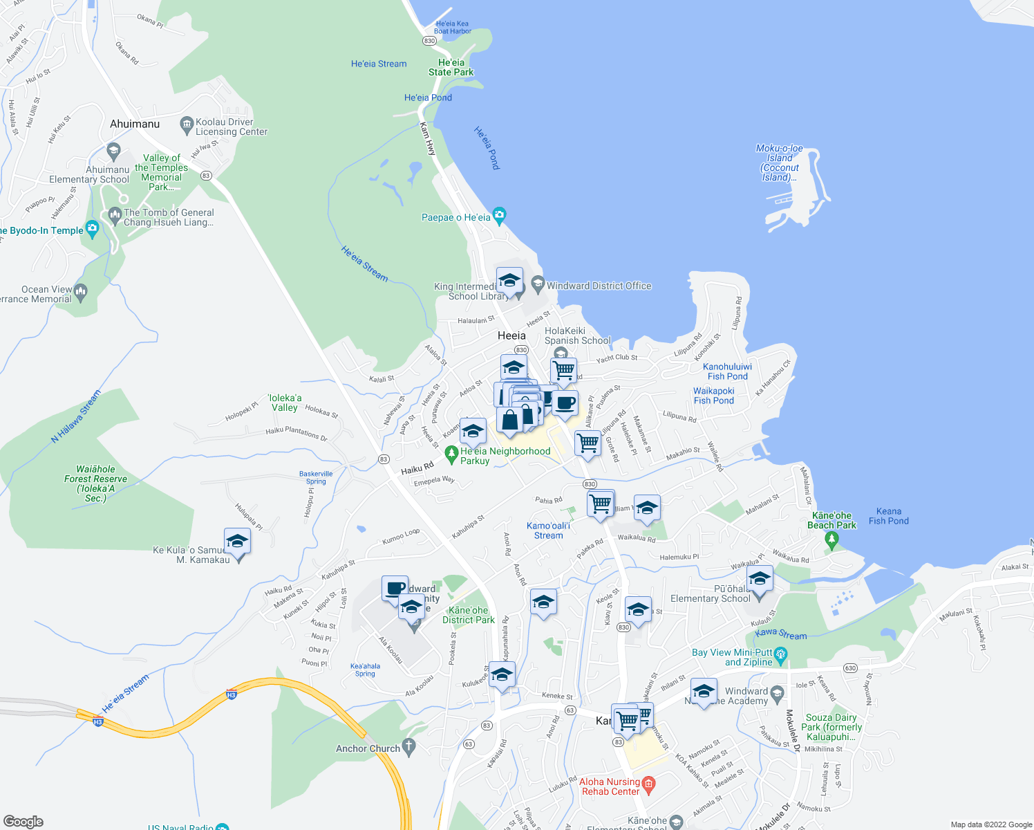 map of restaurants, bars, coffee shops, grocery stores, and more near 46-056 Kamehameha Highway in Kaneohe