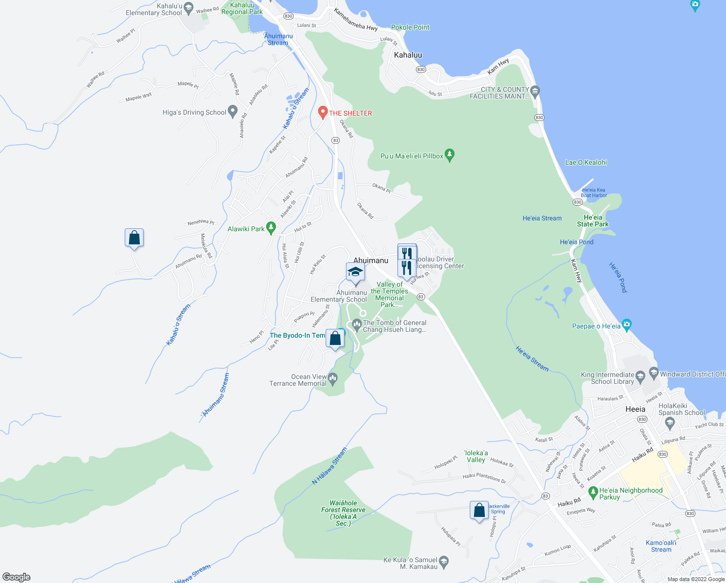 map of restaurants, bars, coffee shops, grocery stores, and more near 47-470 Hui Aeko Place in Kaneohe