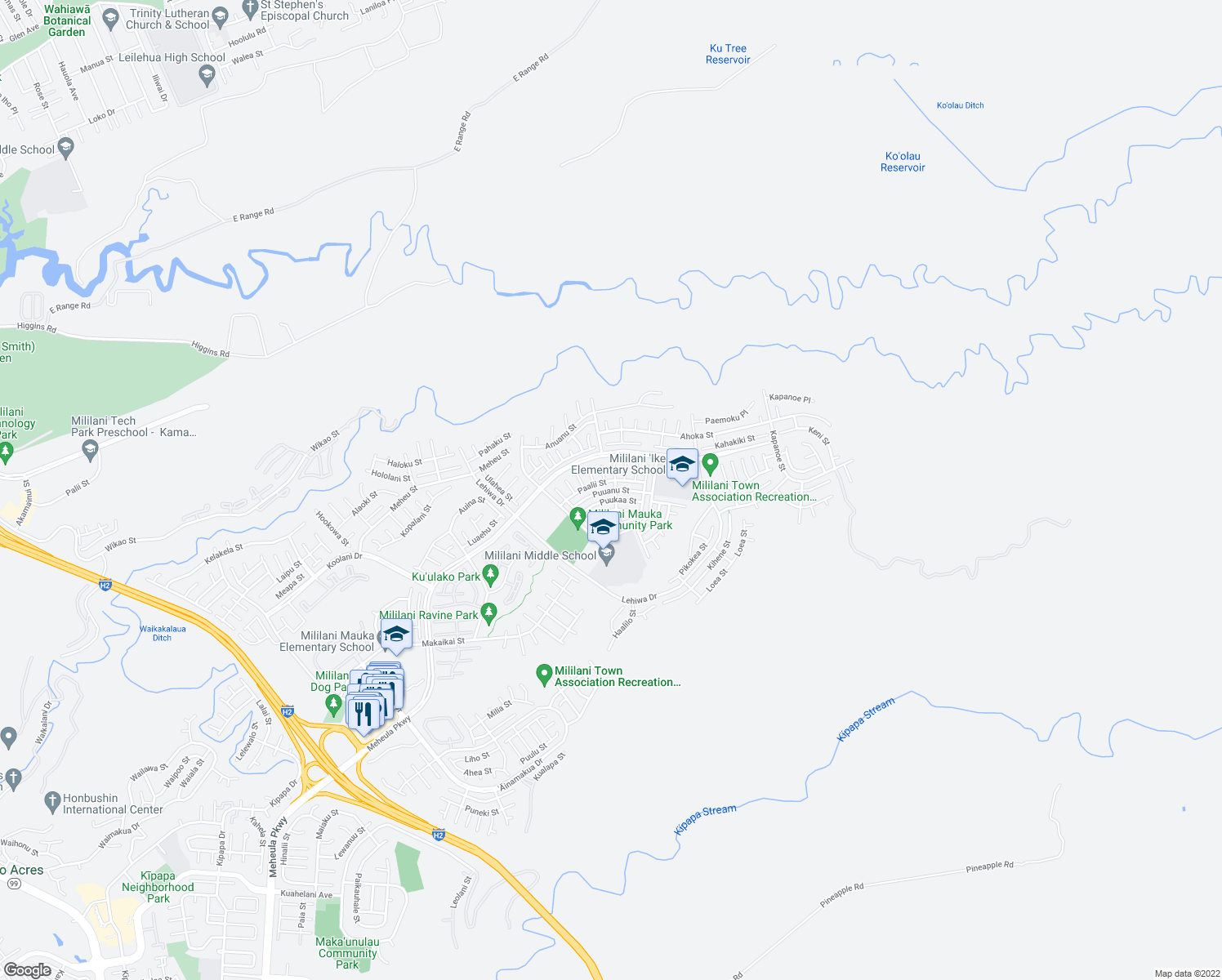 map of restaurants, bars, coffee shops, grocery stores, and more near Puuanu Street in Mililani