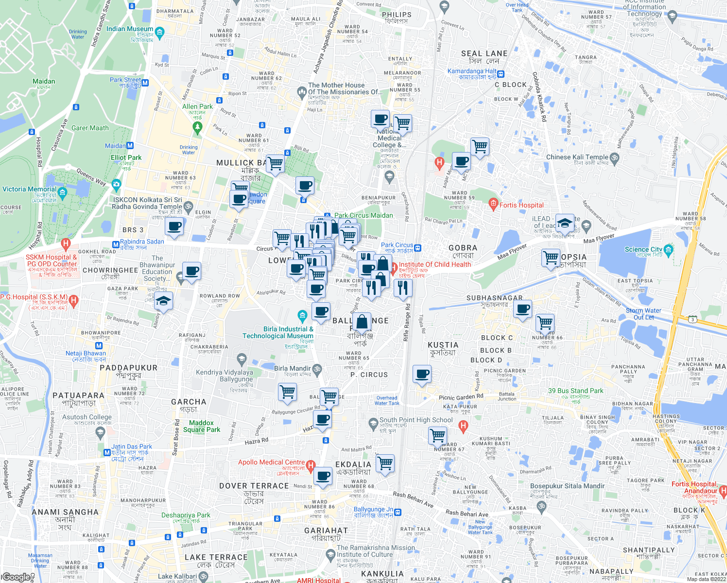 map of restaurants, bars, coffee shops, grocery stores, and more near Samsul Huda Rd in Kolkata