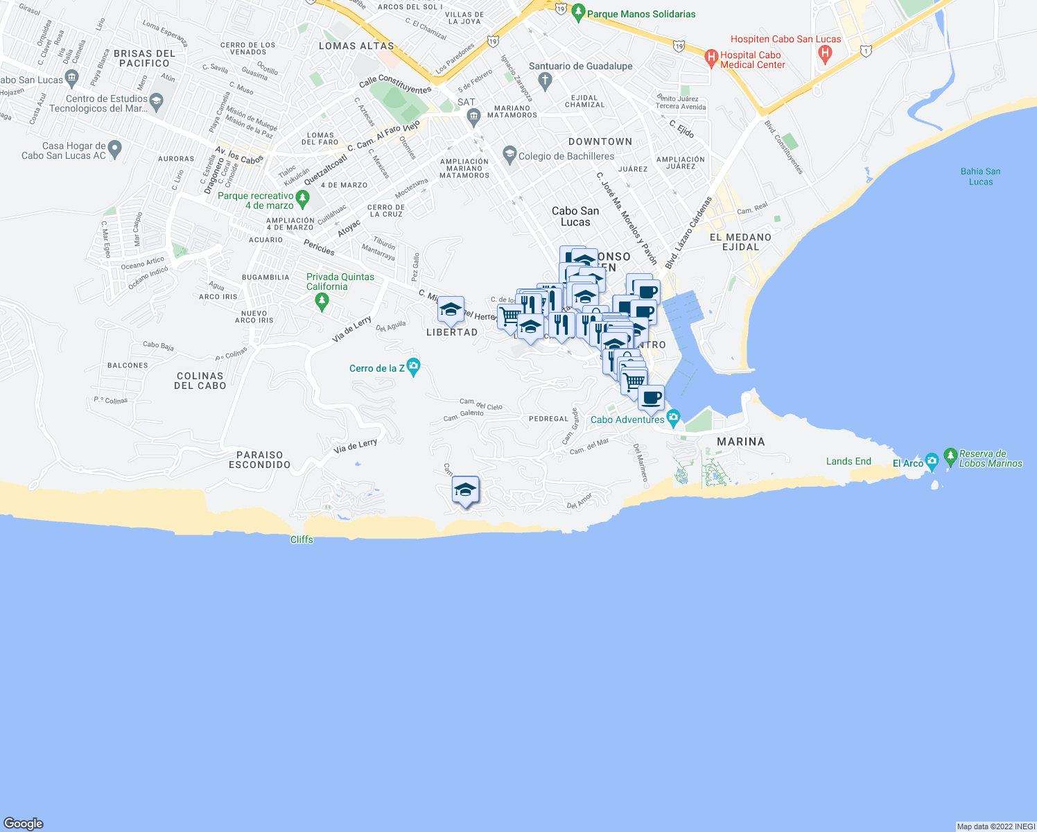 map of restaurants, bars, coffee shops, grocery stores, and more near Camino de La Barranca in Cabo San Lucas