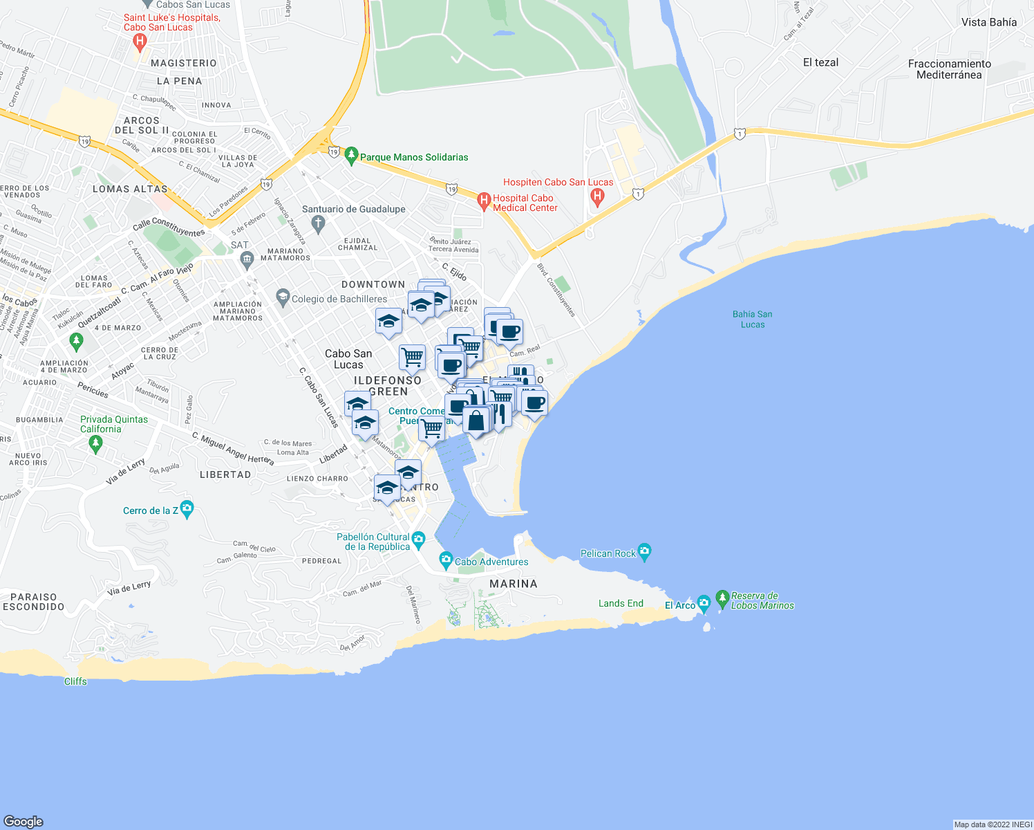 map of restaurants, bars, coffee shops, grocery stores, and more near in Cabo San Lucas
