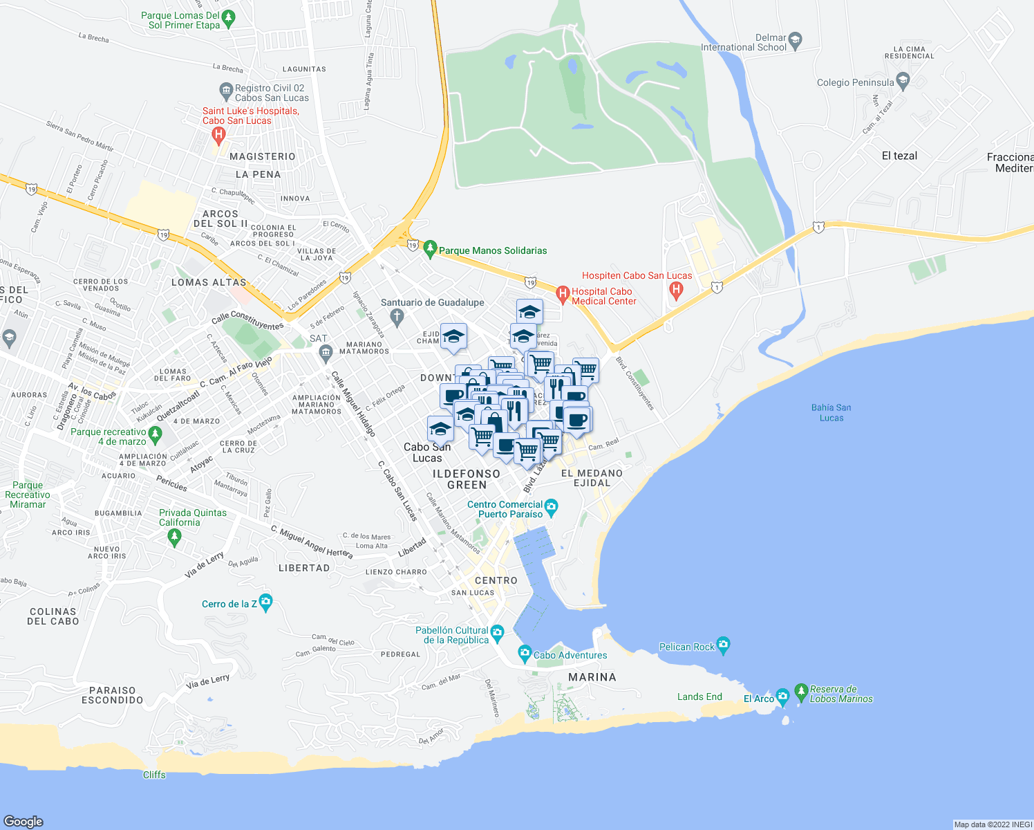 map of restaurants, bars, coffee shops, grocery stores, and more near General Francisco de Santiago in Cabo San Lucas
