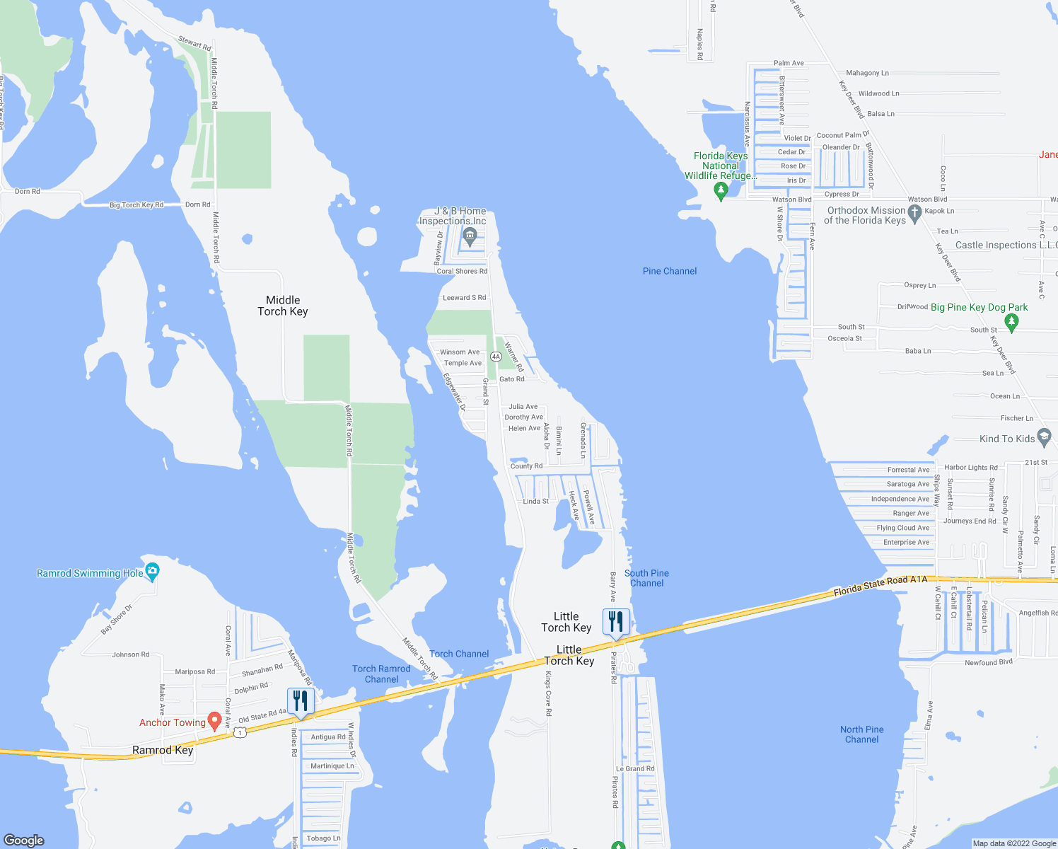 map of restaurants, bars, coffee shops, grocery stores, and more near 28213 Helen Avenue in Little Torch Key