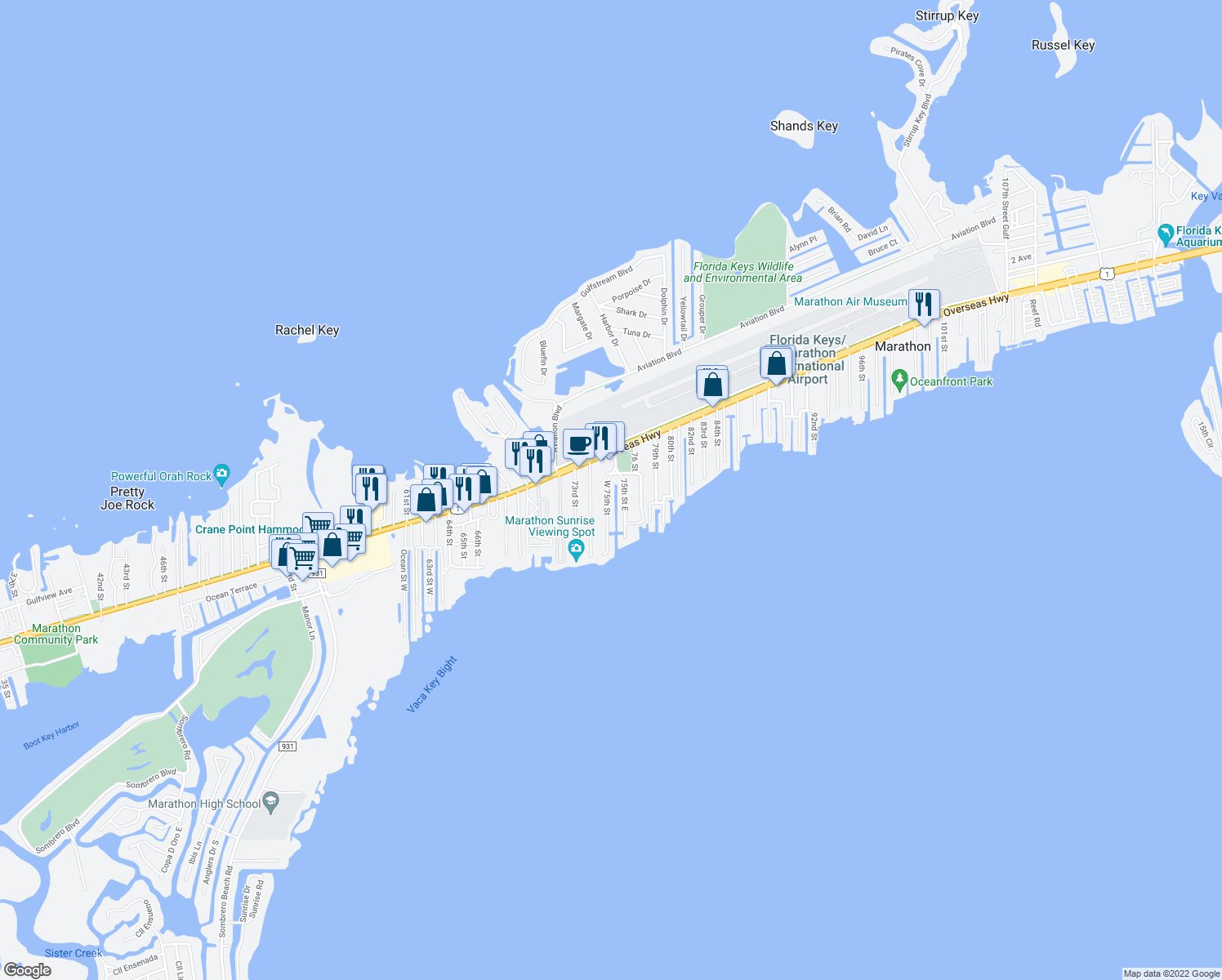 map of restaurants, bars, coffee shops, grocery stores, and more near 930 West 75th Saint Ocean in Marathon